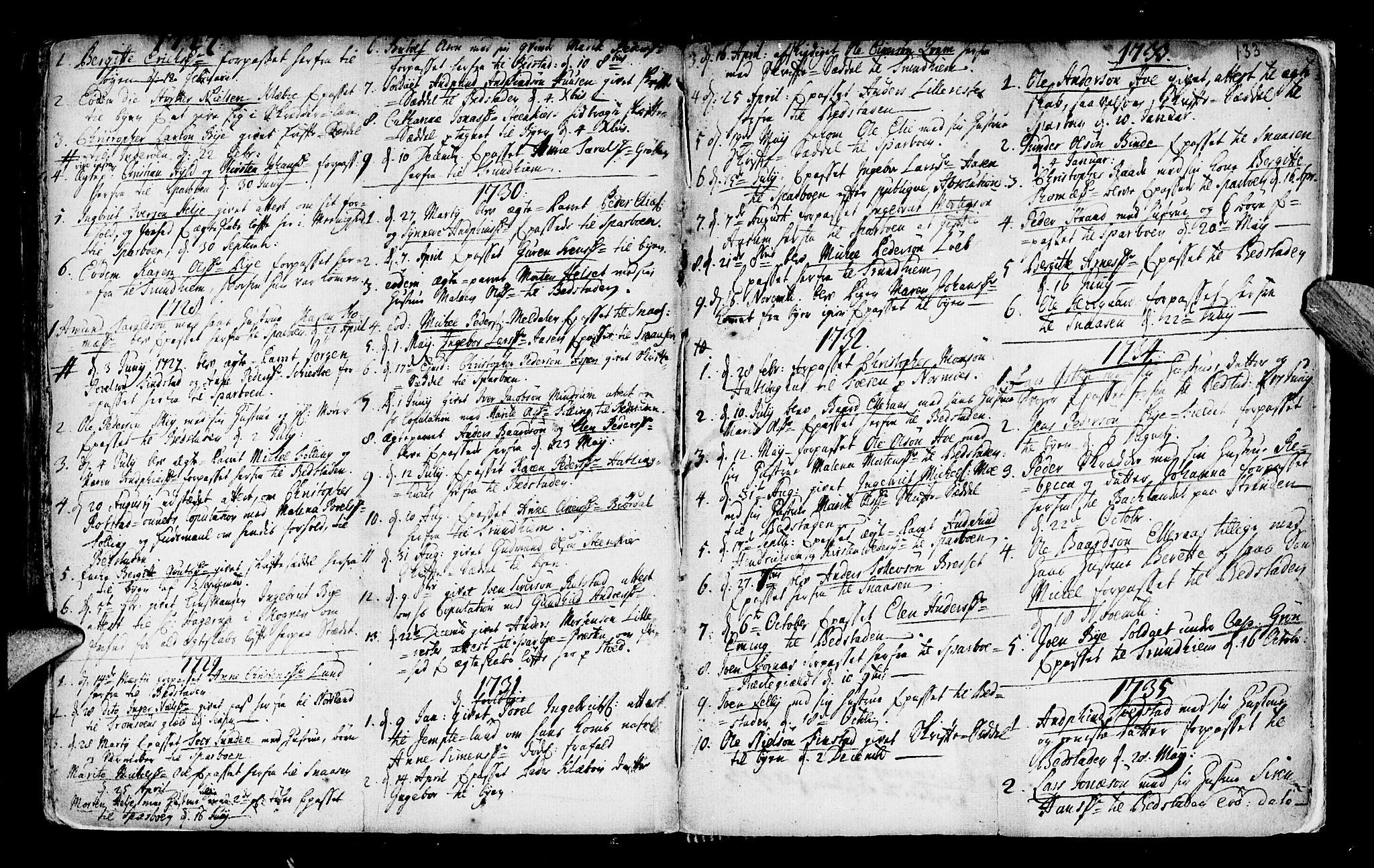 SAT, Ministerialprotokoller, klokkerbøker og fødselsregistre - Nord-Trøndelag, 746/L0439: Ministerialbok nr. 746A01, 1688-1759, s. 133