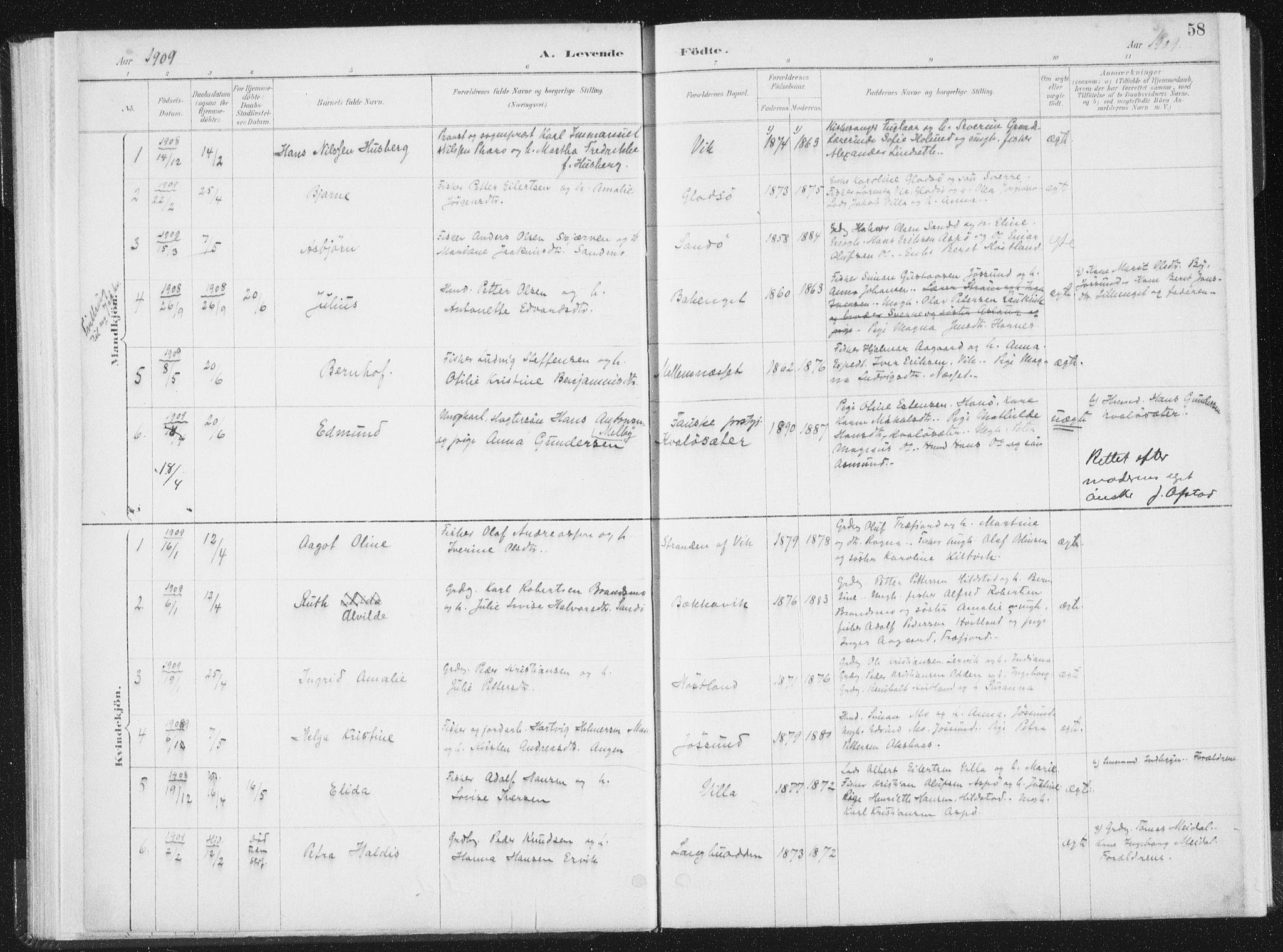 SAT, Ministerialprotokoller, klokkerbøker og fødselsregistre - Nord-Trøndelag, 771/L0597: Ministerialbok nr. 771A04, 1885-1910, s. 58