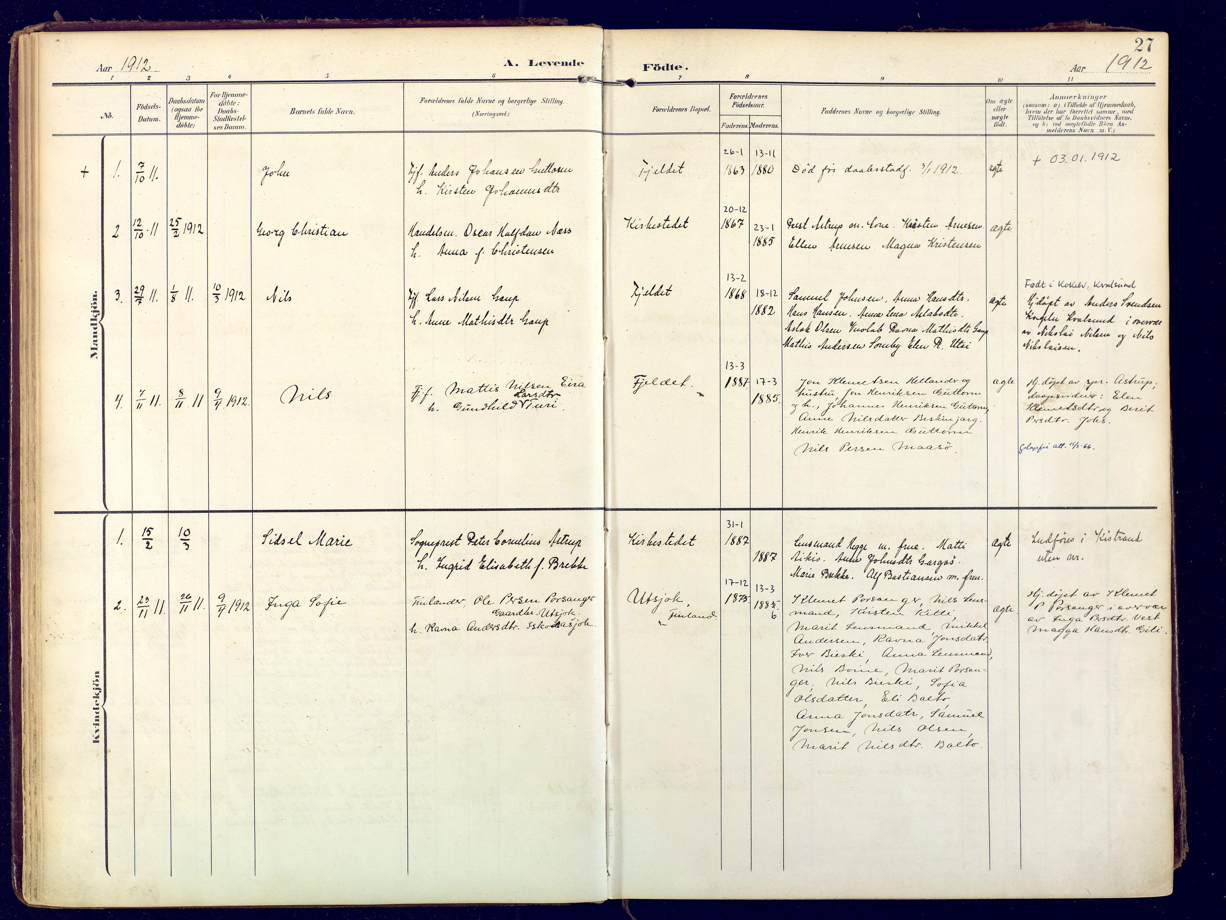 SATØ, Karasjok sokneprestkontor, H/Ha: Ministerialbok nr. 3, 1907-1926, s. 27