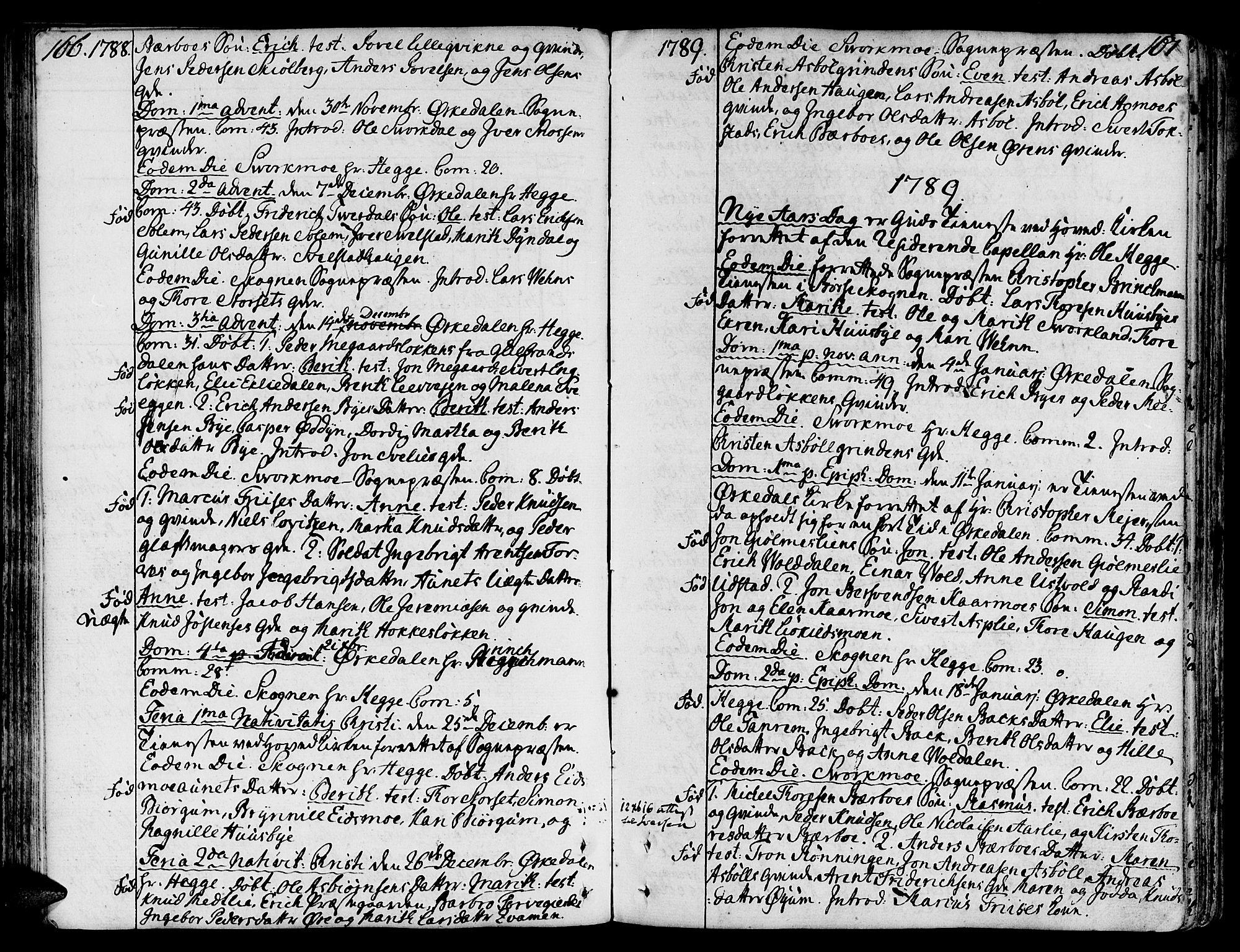 SAT, Ministerialprotokoller, klokkerbøker og fødselsregistre - Sør-Trøndelag, 668/L0802: Ministerialbok nr. 668A02, 1776-1799, s. 166-167