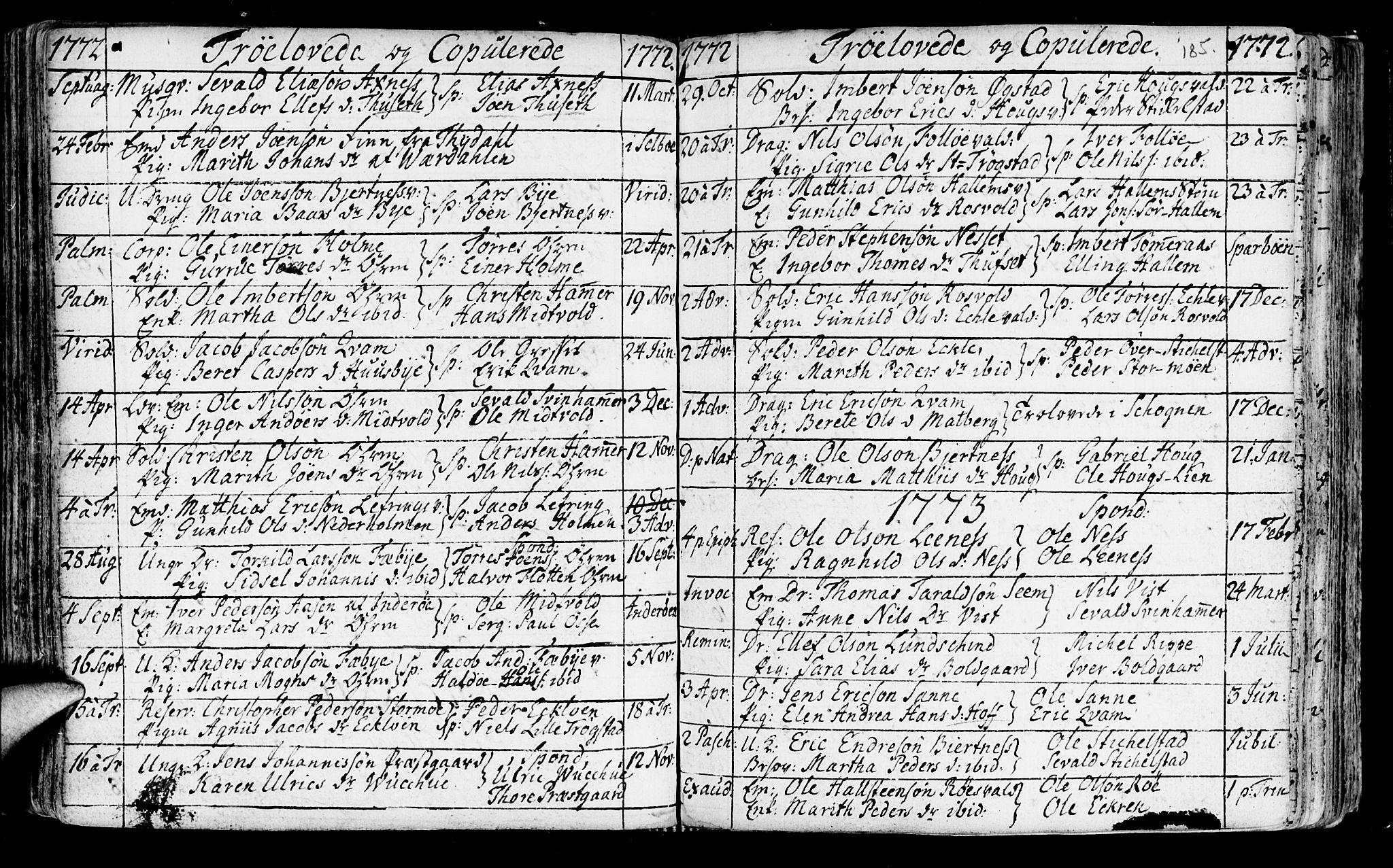 SAT, Ministerialprotokoller, klokkerbøker og fødselsregistre - Nord-Trøndelag, 723/L0231: Ministerialbok nr. 723A02, 1748-1780, s. 185