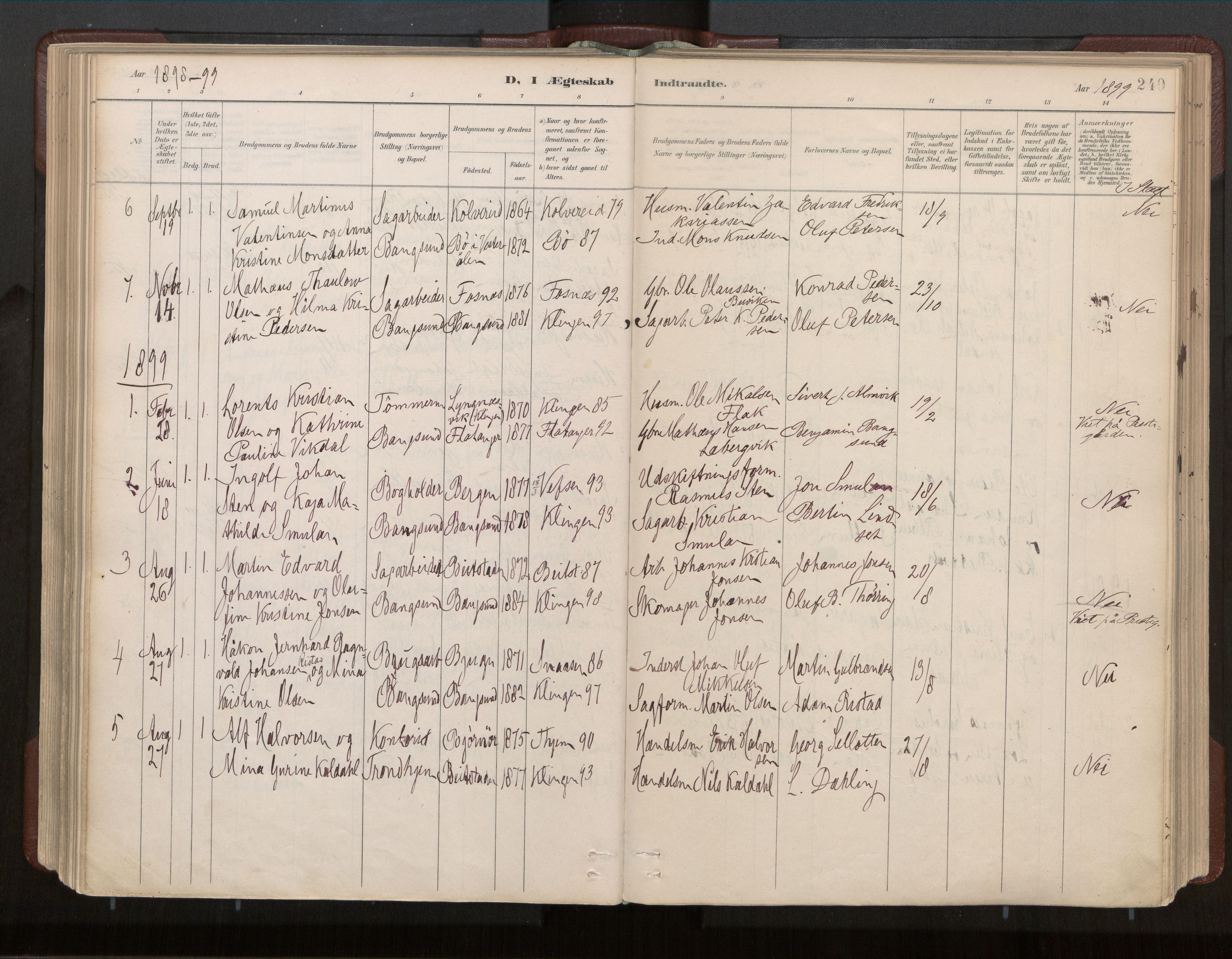 SAT, Ministerialprotokoller, klokkerbøker og fødselsregistre - Nord-Trøndelag, 770/L0589: Ministerialbok nr. 770A03, 1887-1929, s. 249