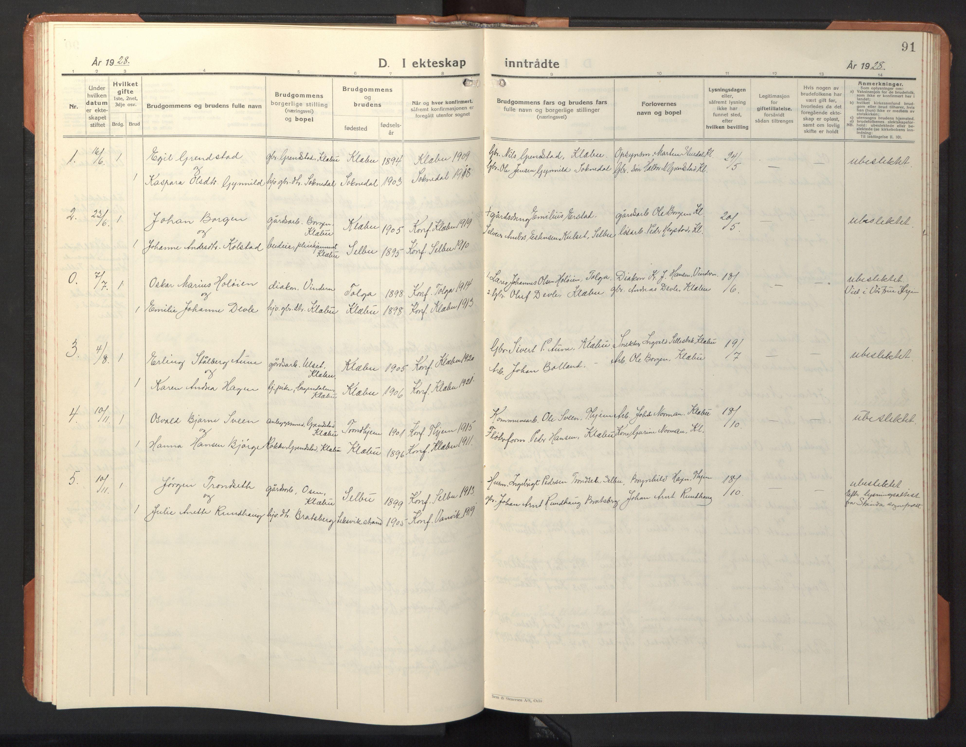 SAT, Ministerialprotokoller, klokkerbøker og fødselsregistre - Sør-Trøndelag, 618/L0454: Klokkerbok nr. 618C05, 1926-1946, s. 91