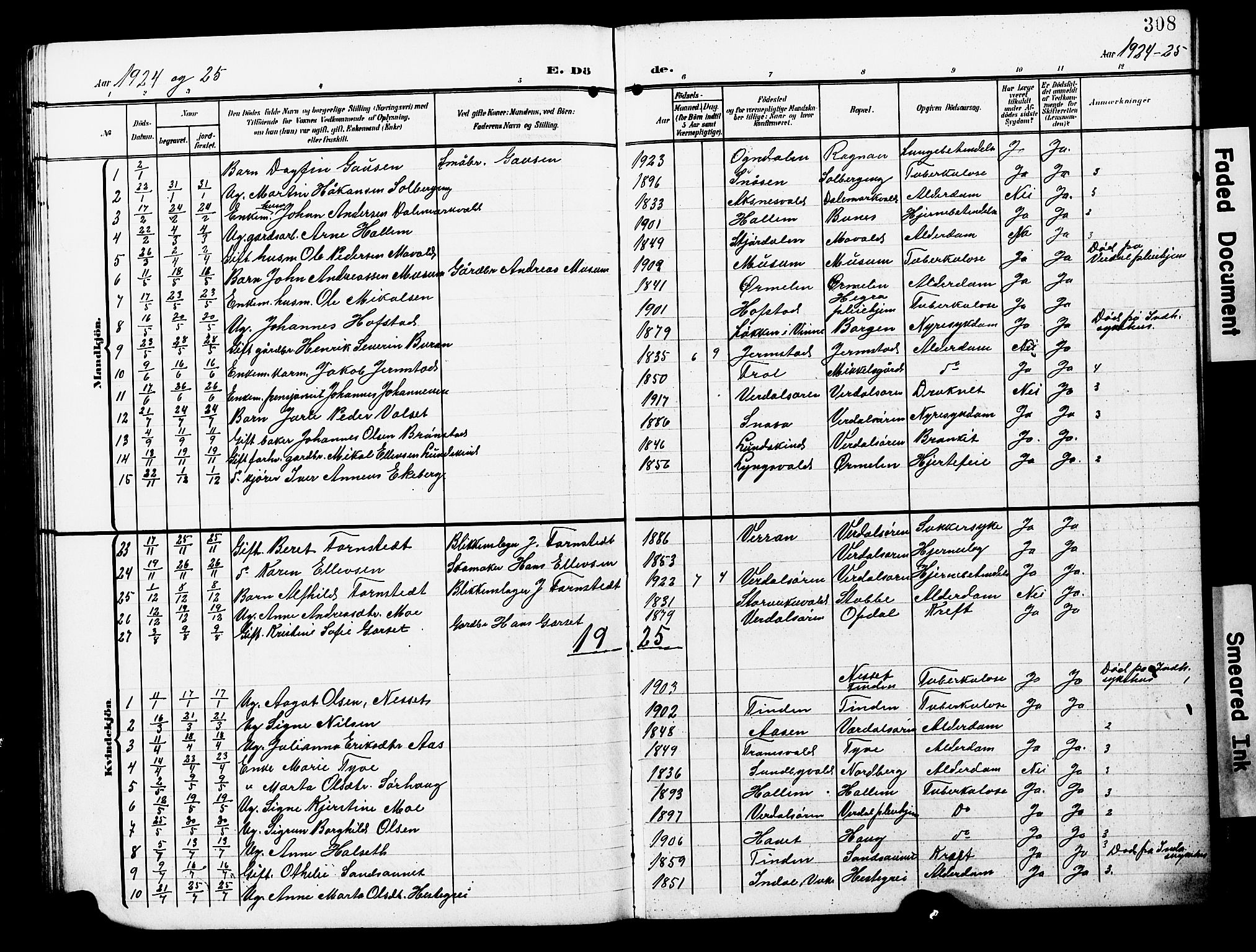 SAT, Ministerialprotokoller, klokkerbøker og fødselsregistre - Nord-Trøndelag, 723/L0258: Klokkerbok nr. 723C06, 1908-1927, s. 308