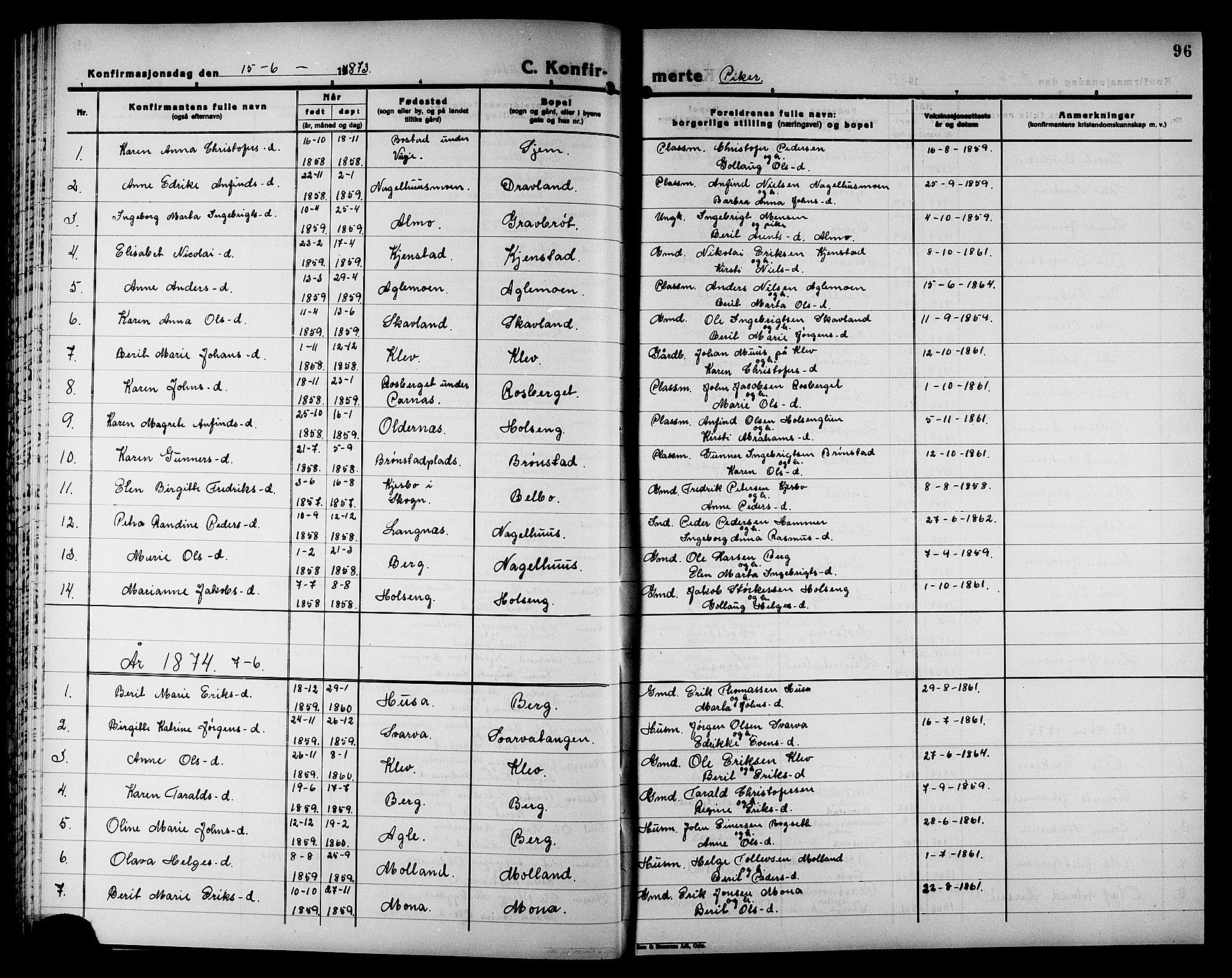 SAT, Ministerialprotokoller, klokkerbøker og fødselsregistre - Nord-Trøndelag, 749/L0486: Ministerialbok nr. 749D02, 1873-1887, s. 96