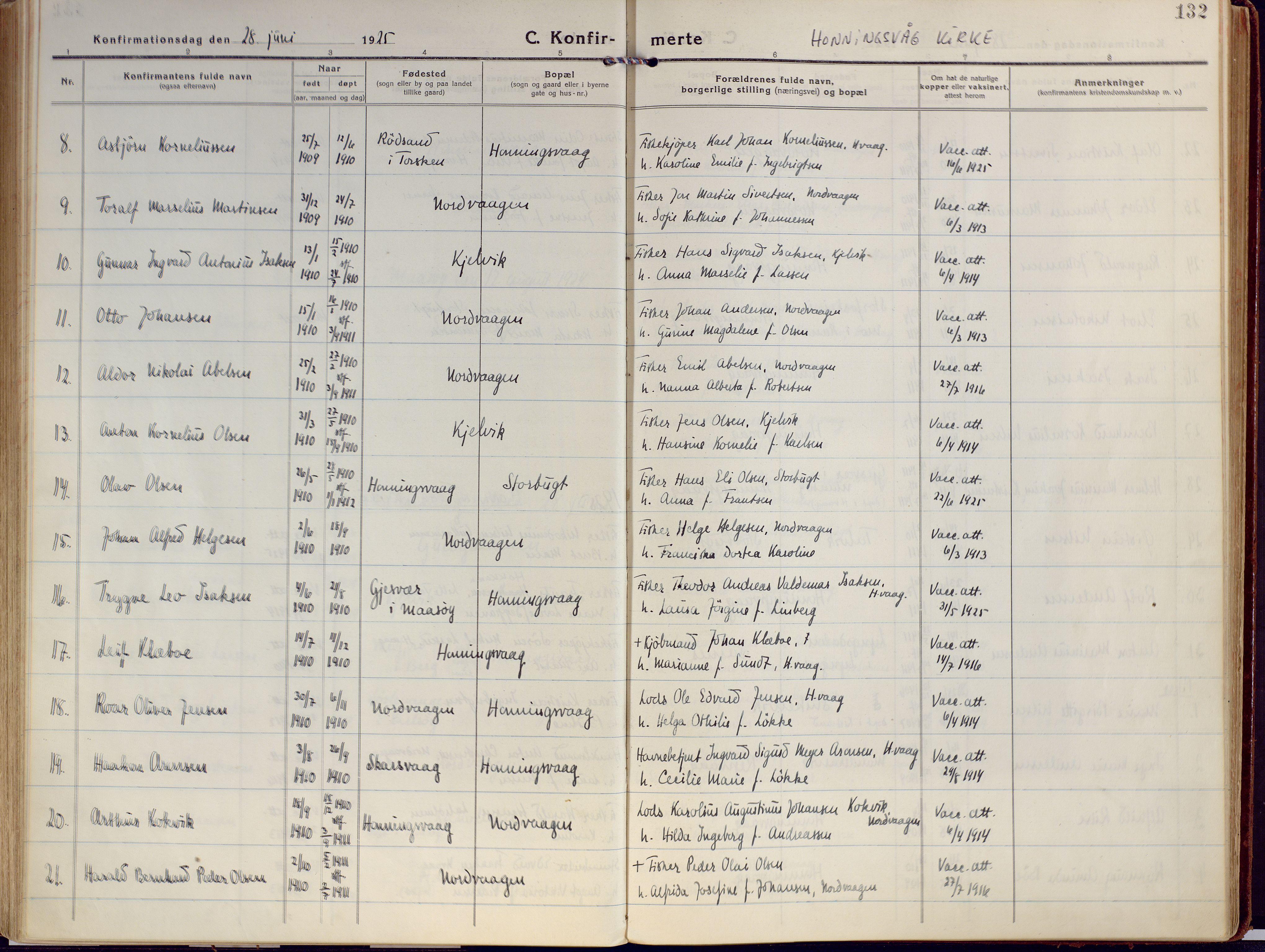 SATØ, Kjelvik/Nordkapp sokneprestkontor, H/Ha/L0002kirke: Ministerialbok nr. 2, 1920-1929, s. 132