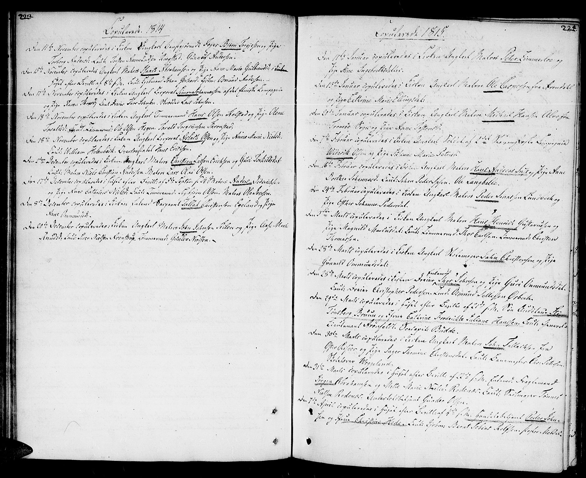 SAK, Kristiansand domprosti, F/Fa/L0005: Ministerialbok nr. A 5, 1776-1818, s. 223-224