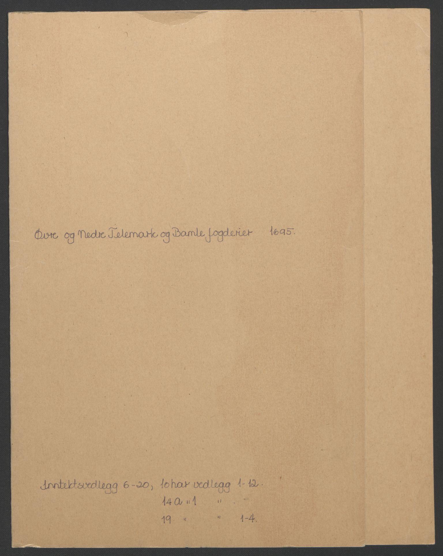 RA, Rentekammeret inntil 1814, Reviderte regnskaper, Fogderegnskap, R36/L2093: Fogderegnskap Øvre og Nedre Telemark og Bamble, 1695, s. 288