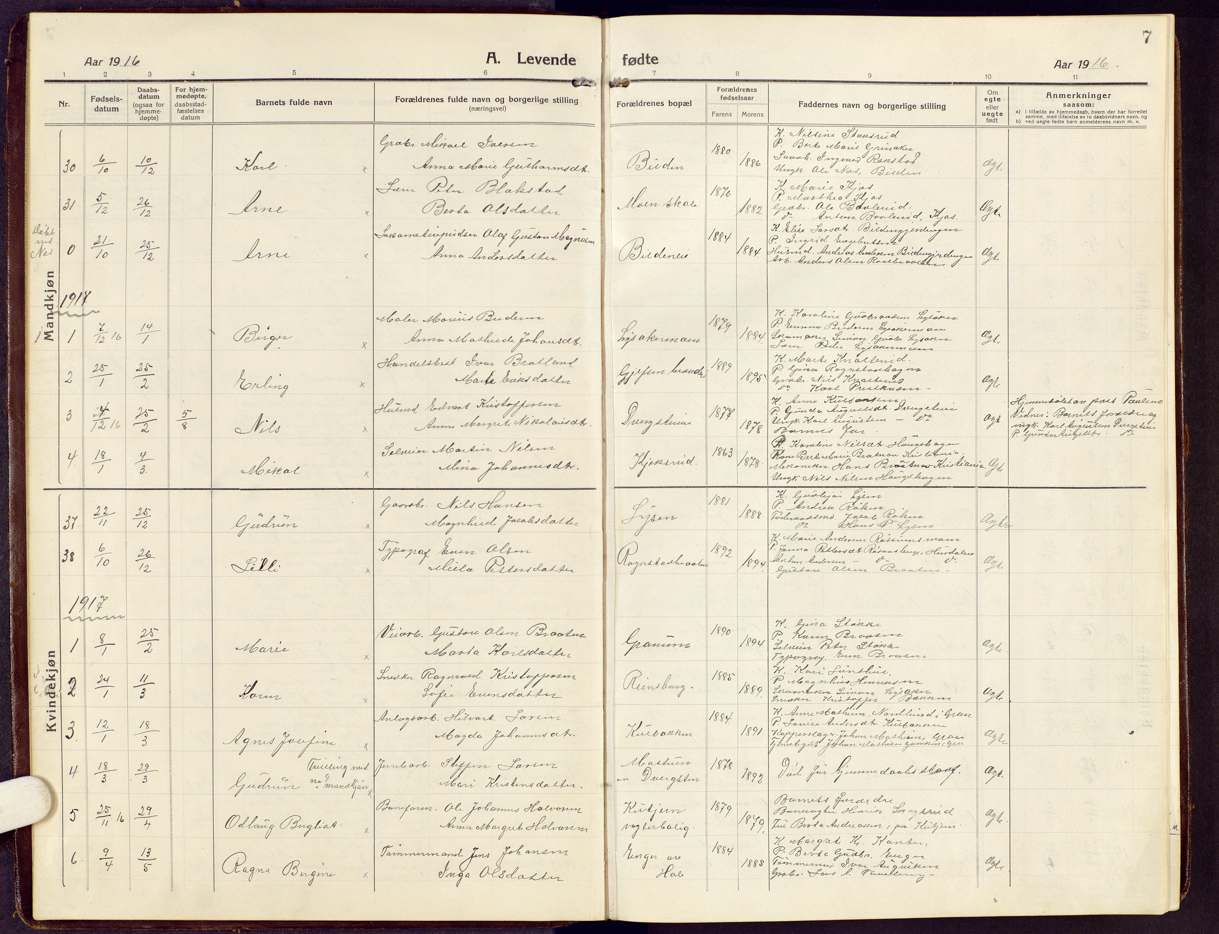 SAH, Brandbu prestekontor, Klokkerbok nr. 10, 1916-1930, s. 7