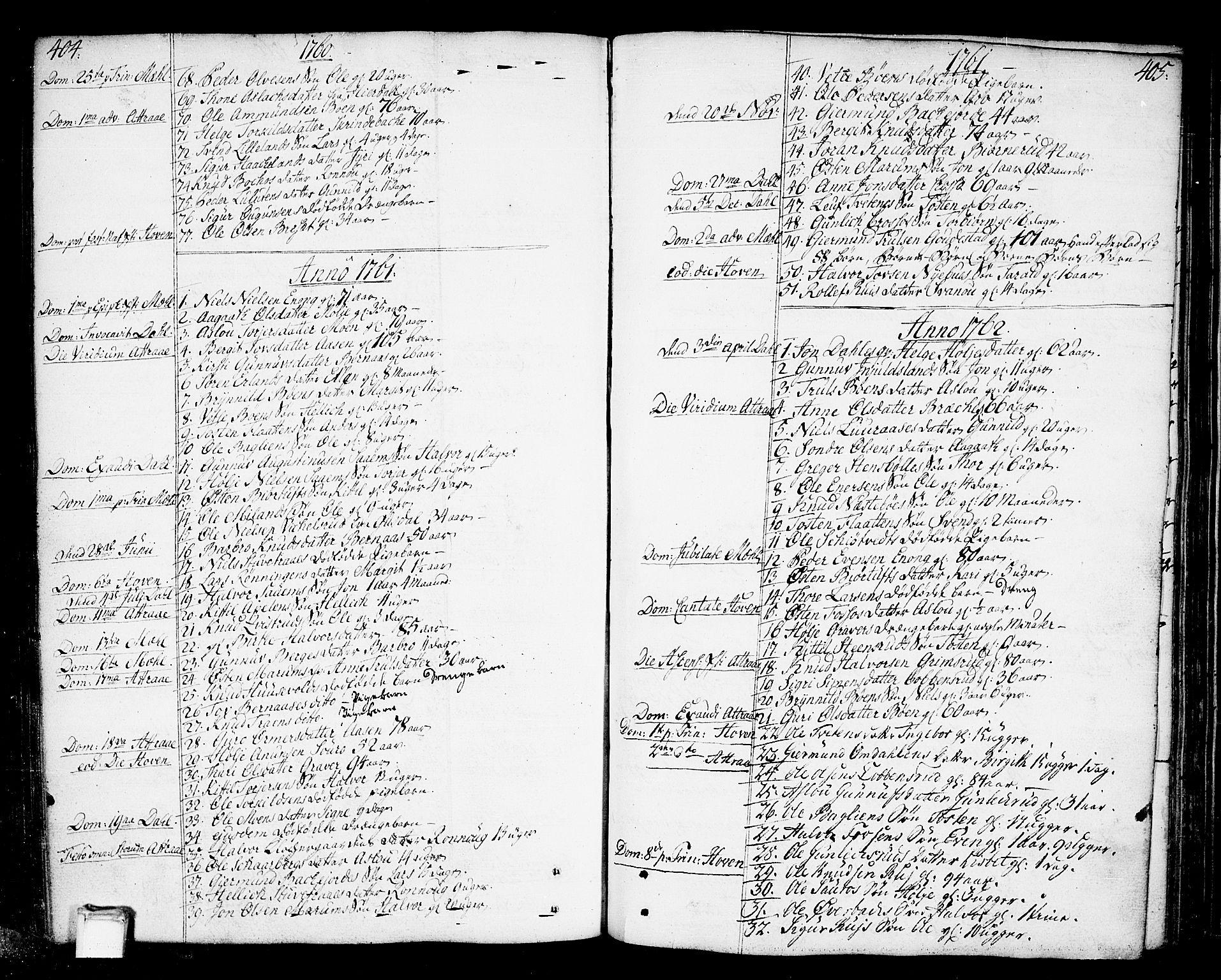 SAKO, Tinn kirkebøker, F/Fa/L0002: Ministerialbok nr. I 2, 1757-1810, s. 404-405