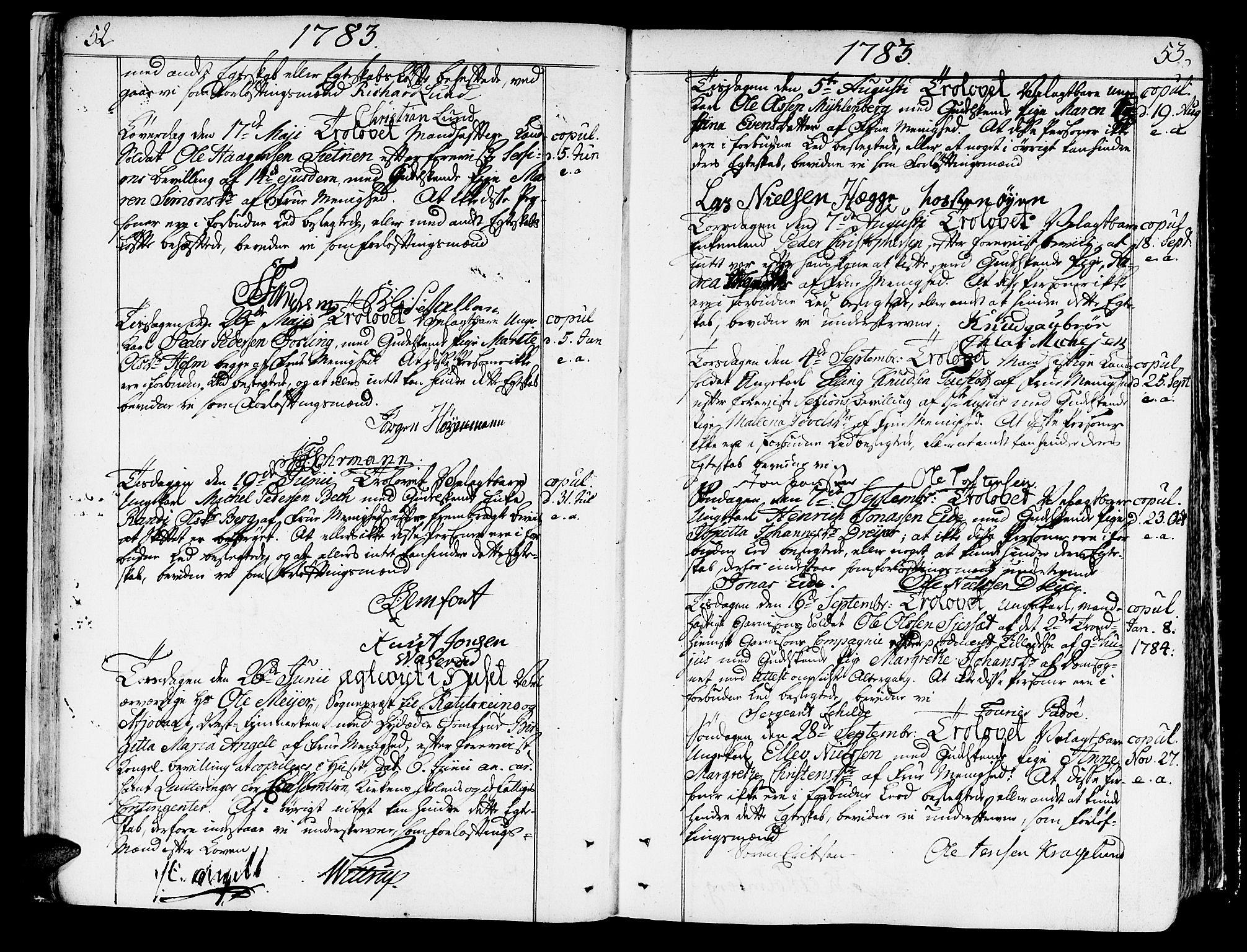 SAT, Ministerialprotokoller, klokkerbøker og fødselsregistre - Sør-Trøndelag, 602/L0105: Ministerialbok nr. 602A03, 1774-1814, s. 52-53