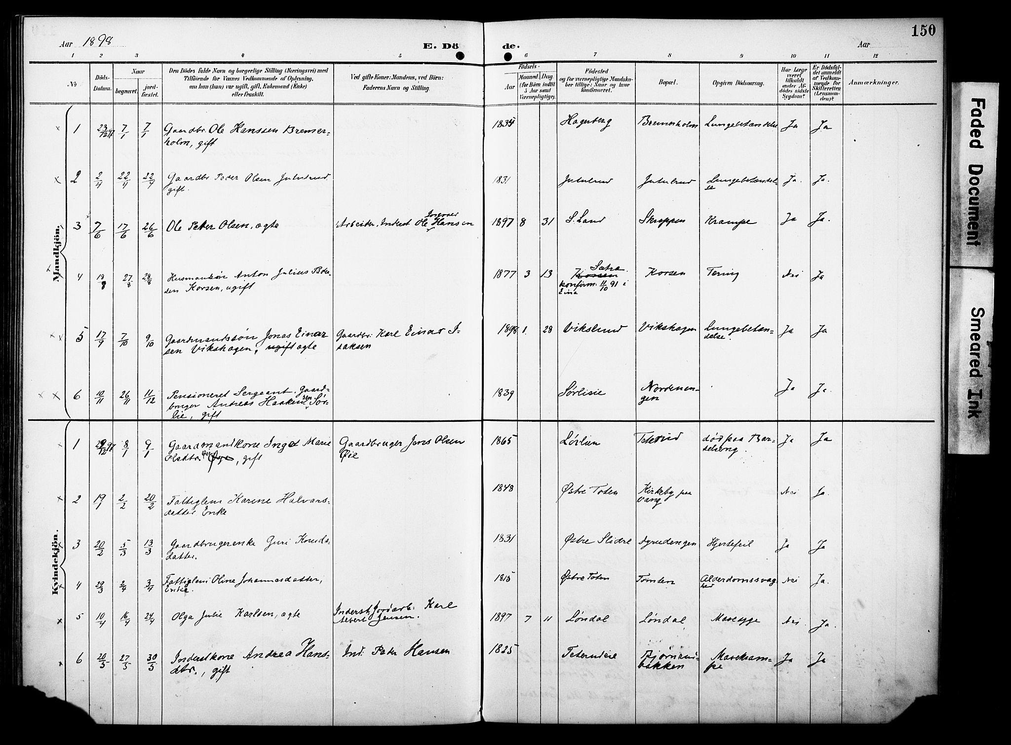 SAH, Vestre Toten prestekontor, H/Ha/Haa/L0012: Ministerialbok nr. 12, 1890-1906, s. 150
