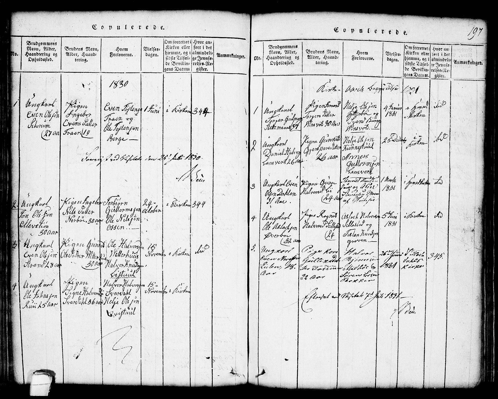 SAKO, Seljord kirkebøker, G/Gc/L0001: Klokkerbok nr. III 1, 1815-1849, s. 197
