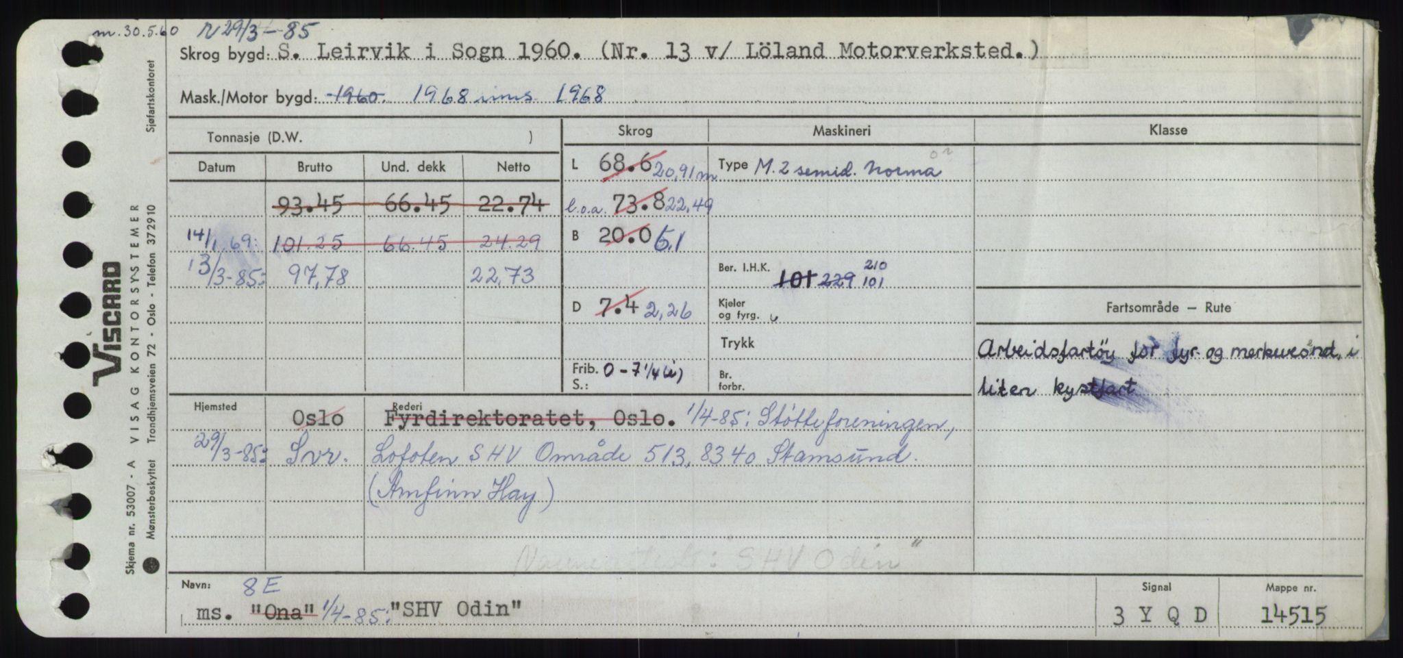 RA, Sjøfartsdirektoratet med forløpere, Skipsmålingen, H/Ha/L0005: Fartøy, s. 1