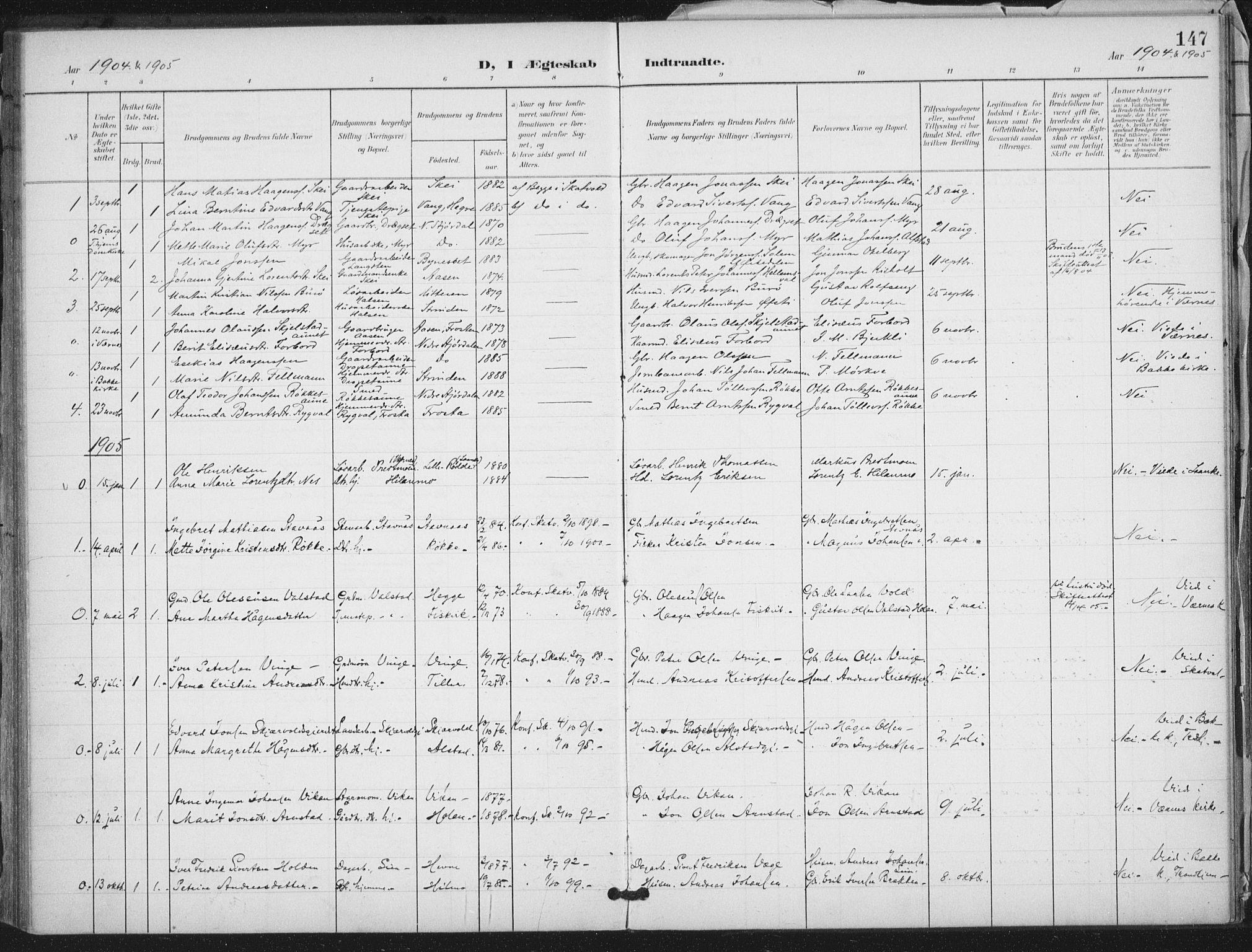 SAT, Ministerialprotokoller, klokkerbøker og fødselsregistre - Nord-Trøndelag, 712/L0101: Ministerialbok nr. 712A02, 1901-1916, s. 147