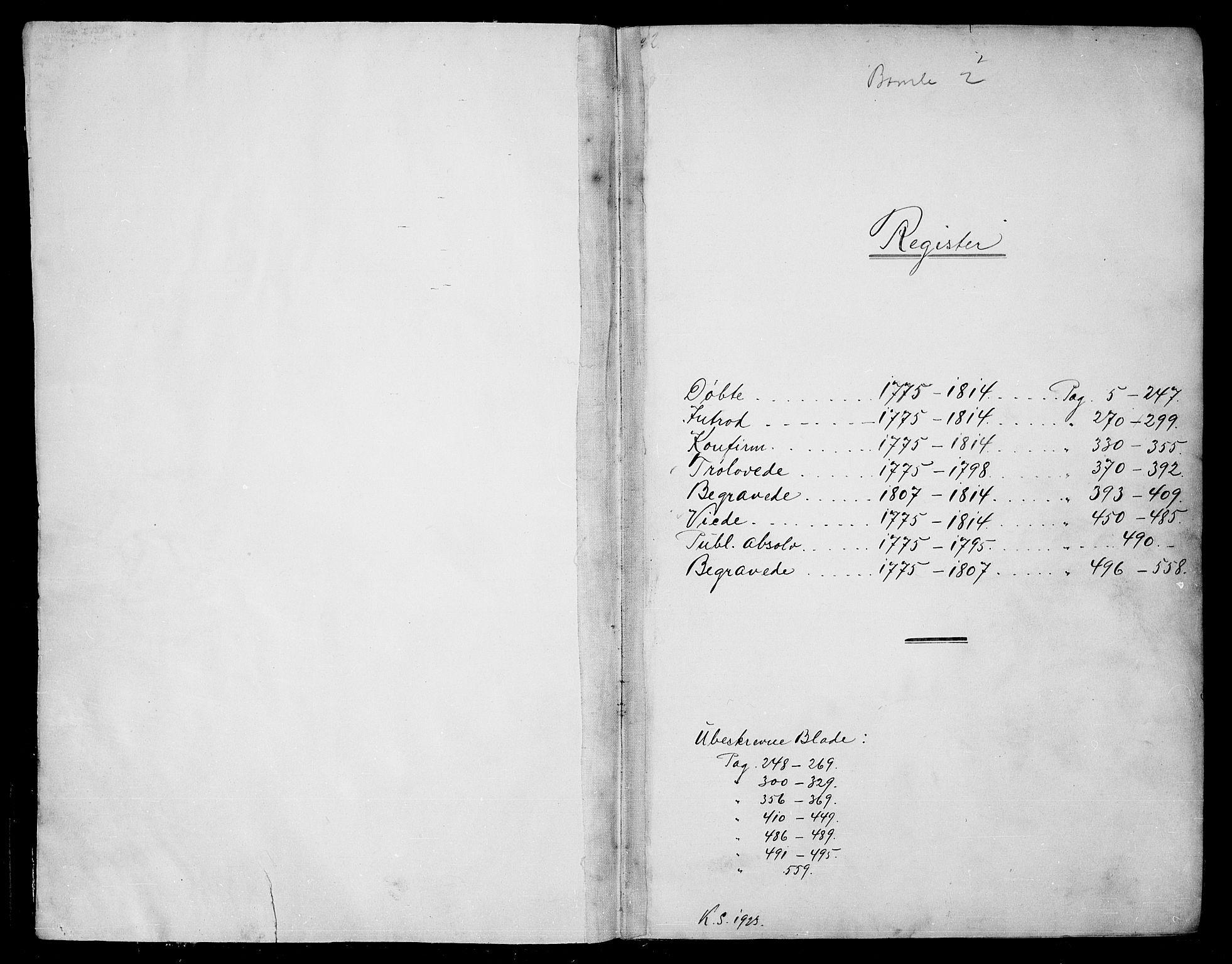 SAKO, Bamble kirkebøker, F/Fa/L0002: Ministerialbok nr. I 2, 1775-1814
