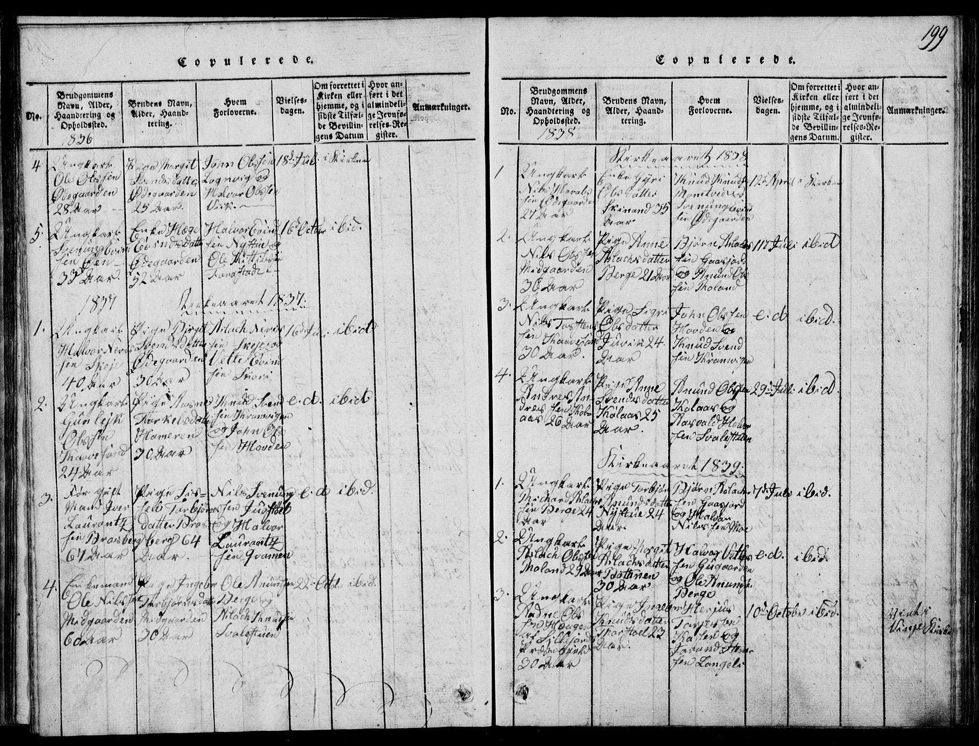 SAKO, Rauland kirkebøker, G/Ga/L0001: Klokkerbok nr. I 1, 1814-1843, s. 199