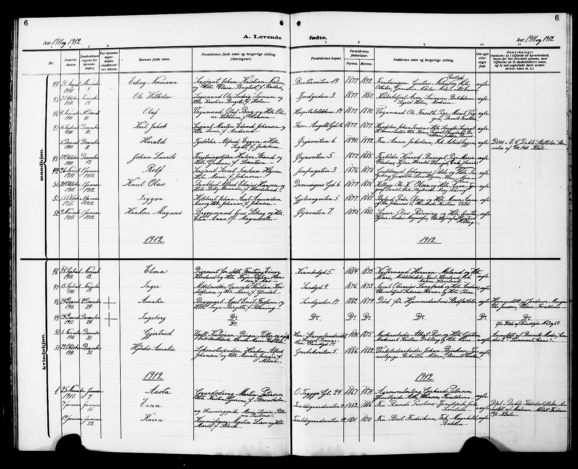 SAT, Ministerialprotokoller, klokkerbøker og fødselsregistre - Sør-Trøndelag, 602/L0147: Klokkerbok nr. 602C15, 1911-1924, s. 6