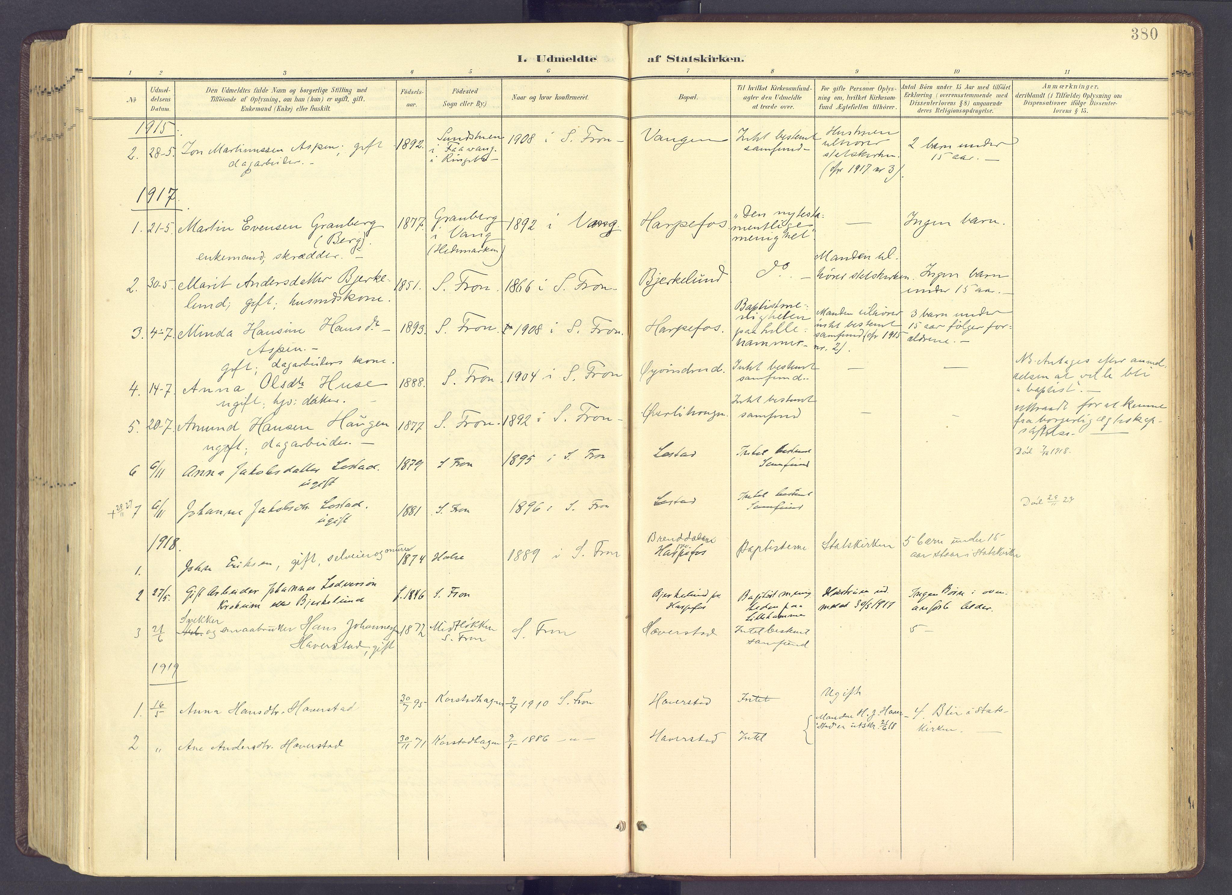 SAH, Sør-Fron prestekontor, H/Ha/Haa/L0004: Ministerialbok nr. 4, 1898-1919, s. 380