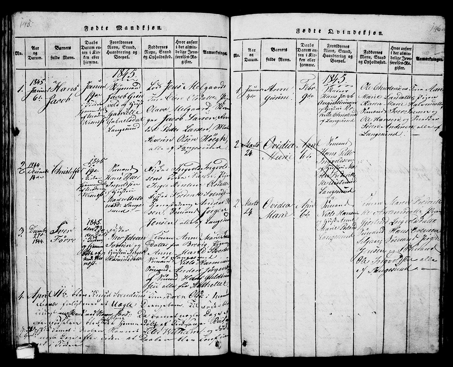 SAKO, Langesund kirkebøker, G/Ga/L0003: Klokkerbok nr. 3, 1815-1858, s. 145-146