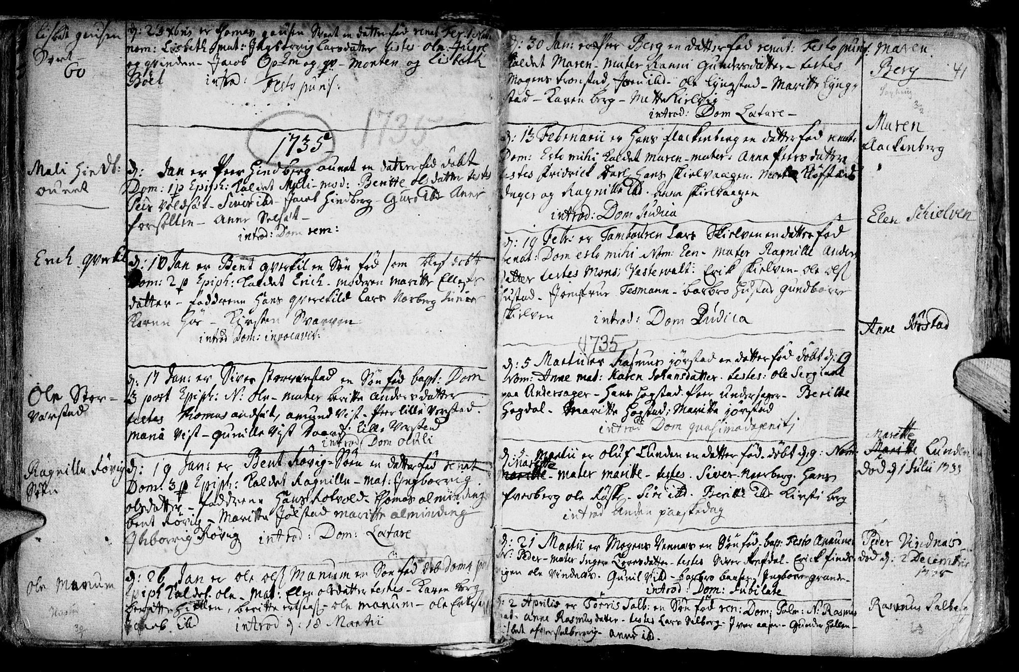 SAT, Ministerialprotokoller, klokkerbøker og fødselsregistre - Nord-Trøndelag, 730/L0272: Ministerialbok nr. 730A01, 1733-1764, s. 41