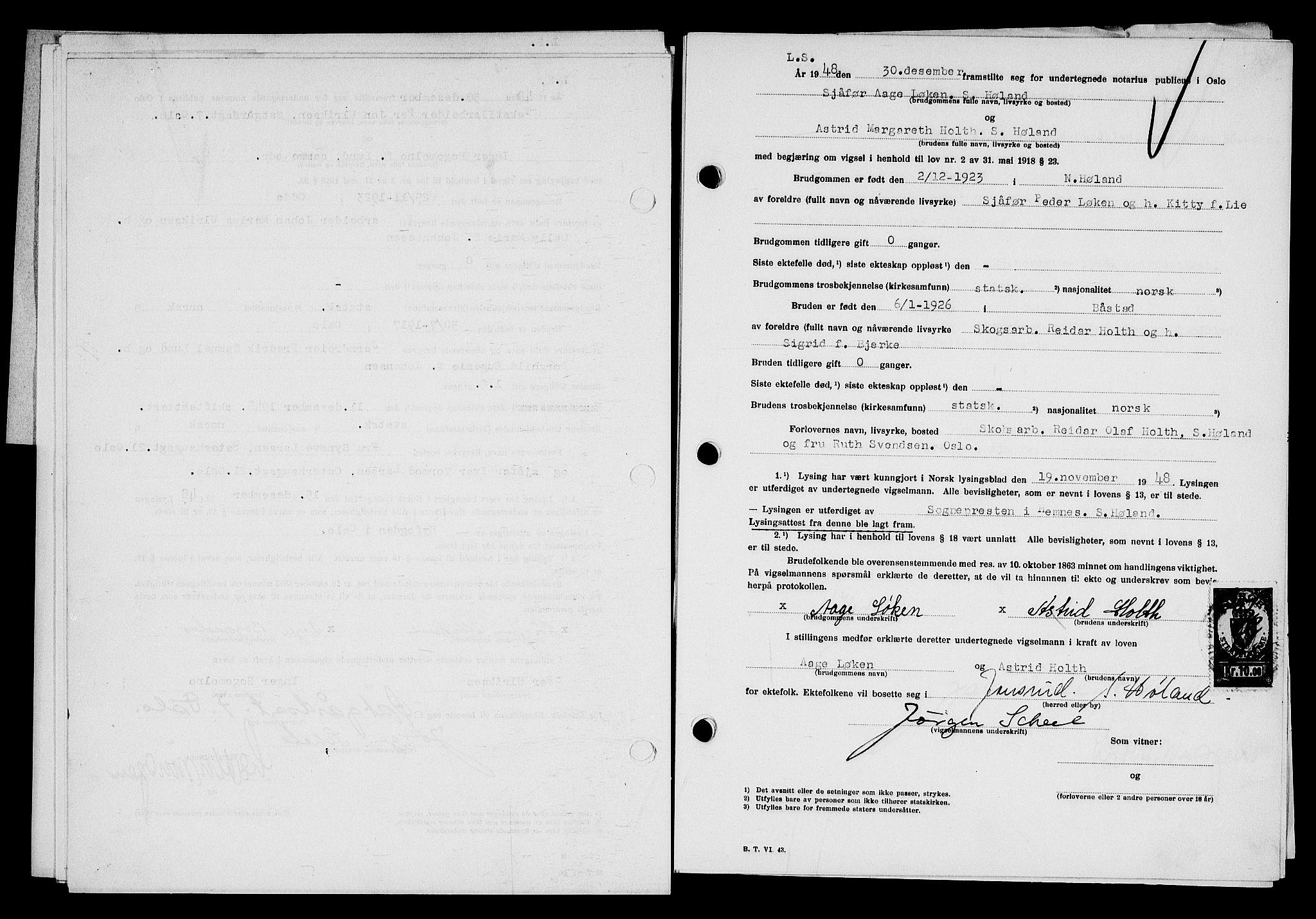 SAO, Oslo byfogd avd. I, L/Lb/Lbb/L0064: Notarialprotokoll, rekke II: Vigsler, 1948-1949