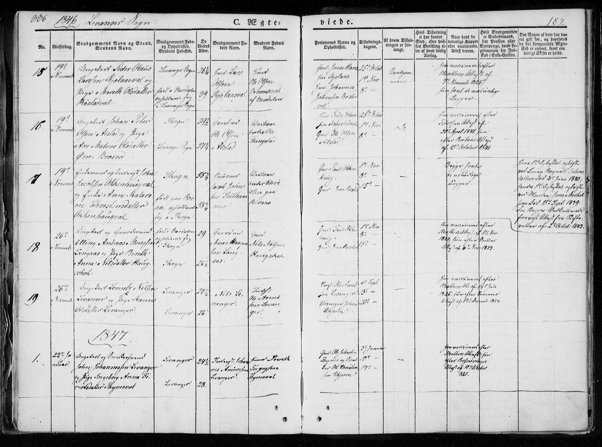 SAT, Ministerialprotokoller, klokkerbøker og fødselsregistre - Nord-Trøndelag, 720/L0183: Ministerialbok nr. 720A01, 1836-1855, s. 182