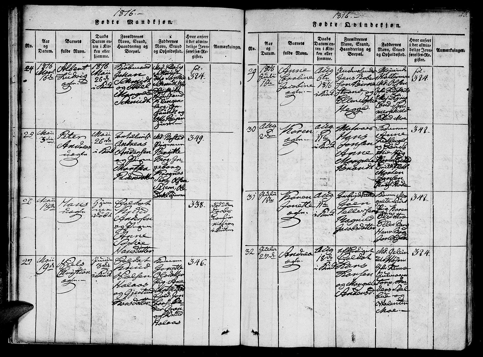 SAT, Ministerialprotokoller, klokkerbøker og fødselsregistre - Sør-Trøndelag, 602/L0107: Ministerialbok nr. 602A05, 1815-1821, s. 23