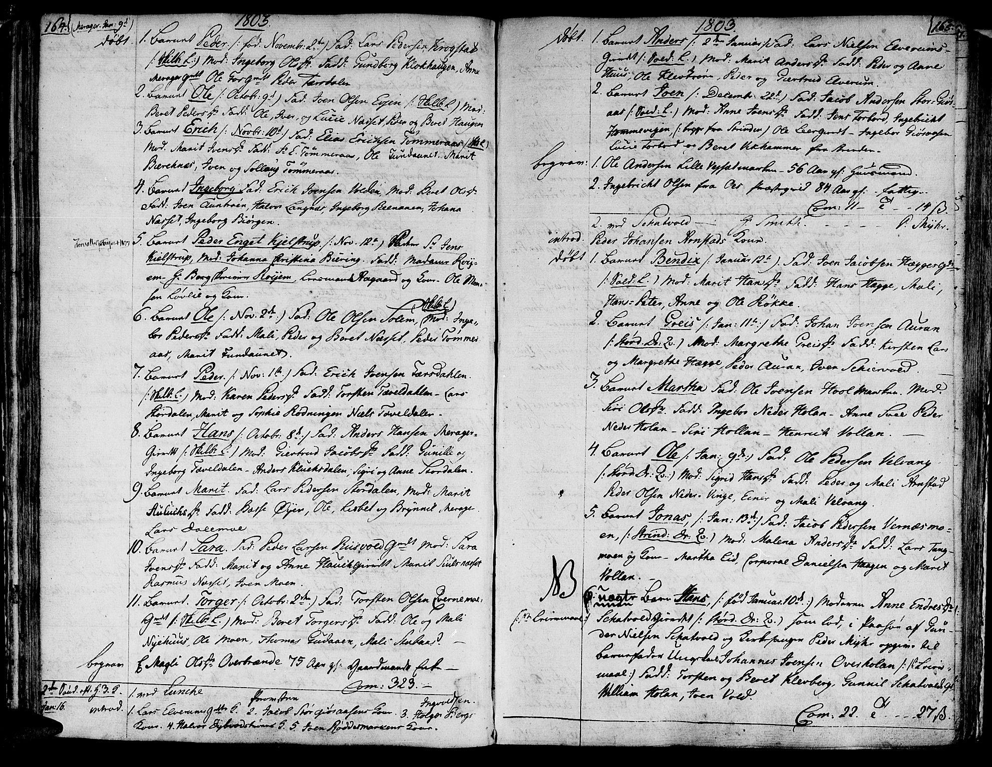 SAT, Ministerialprotokoller, klokkerbøker og fødselsregistre - Nord-Trøndelag, 709/L0060: Ministerialbok nr. 709A07, 1797-1815, s. 164-165