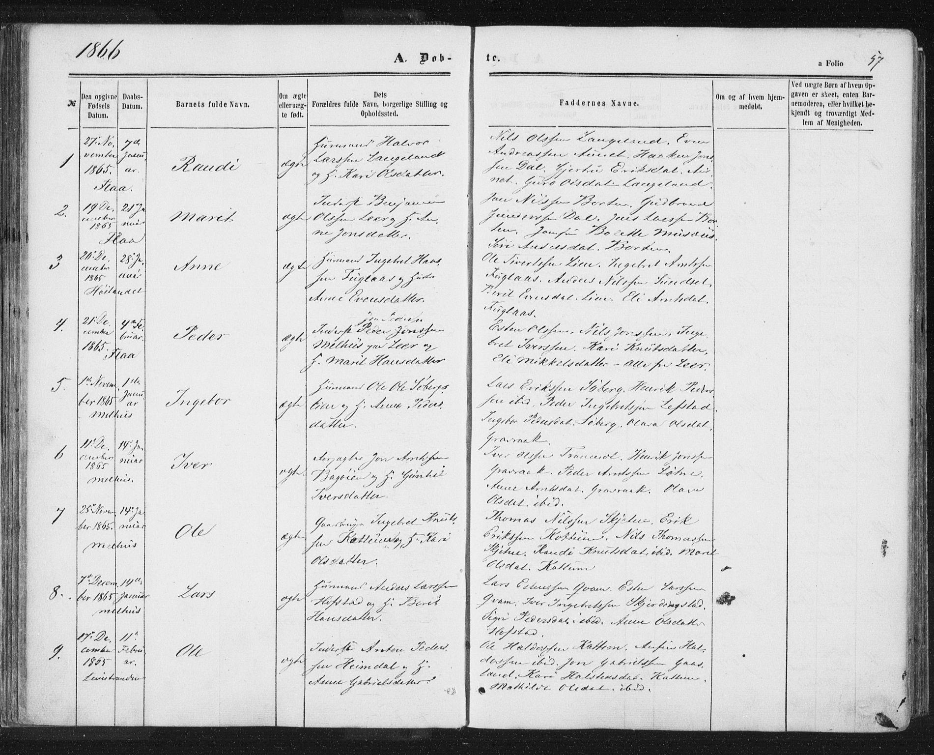 SAT, Ministerialprotokoller, klokkerbøker og fødselsregistre - Sør-Trøndelag, 691/L1077: Ministerialbok nr. 691A09, 1862-1873, s. 57
