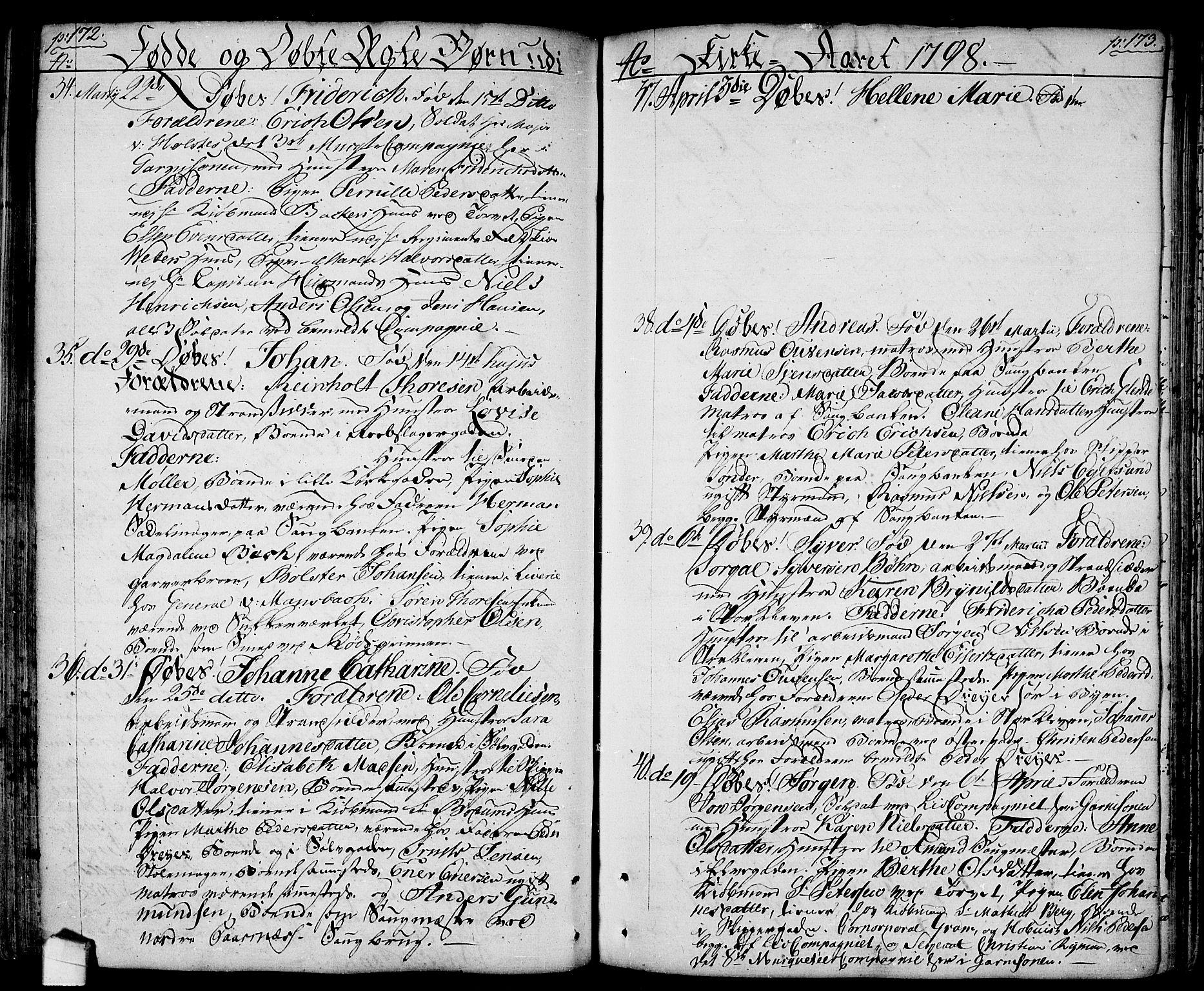 SAO, Halden prestekontor Kirkebøker, F/Fa/L0002: Ministerialbok nr. I 2, 1792-1812, s. 172-173