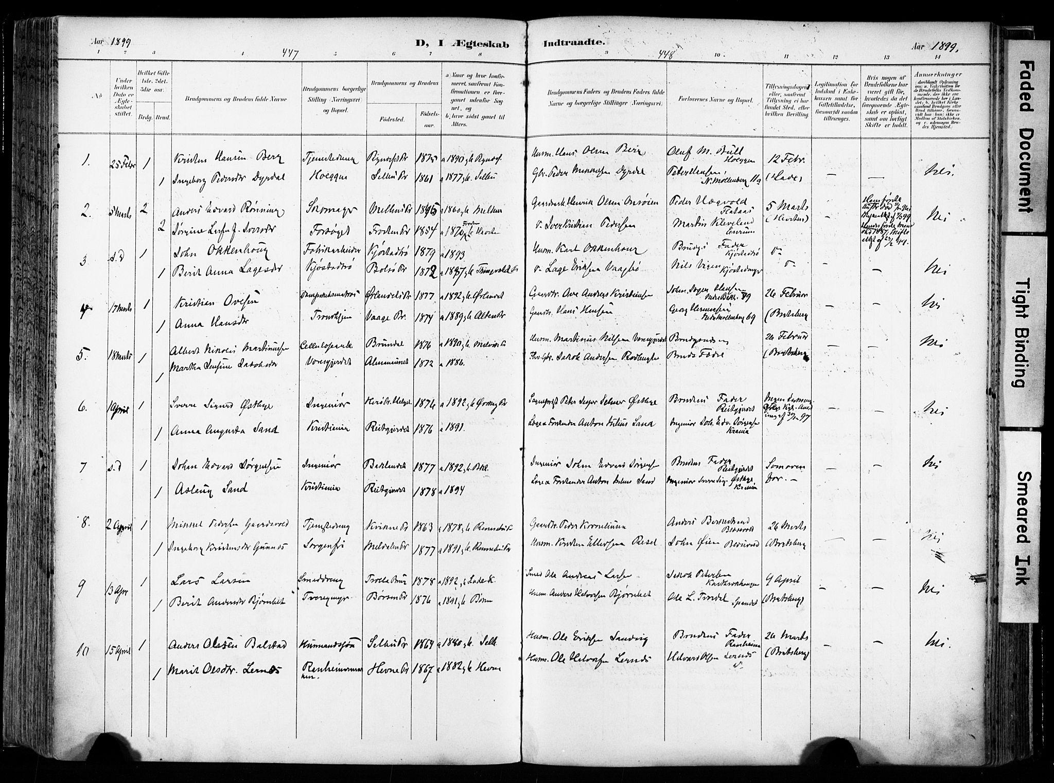 SAT, Ministerialprotokoller, klokkerbøker og fødselsregistre - Sør-Trøndelag, 606/L0301: Ministerialbok nr. 606A16, 1894-1907, s. 447-448