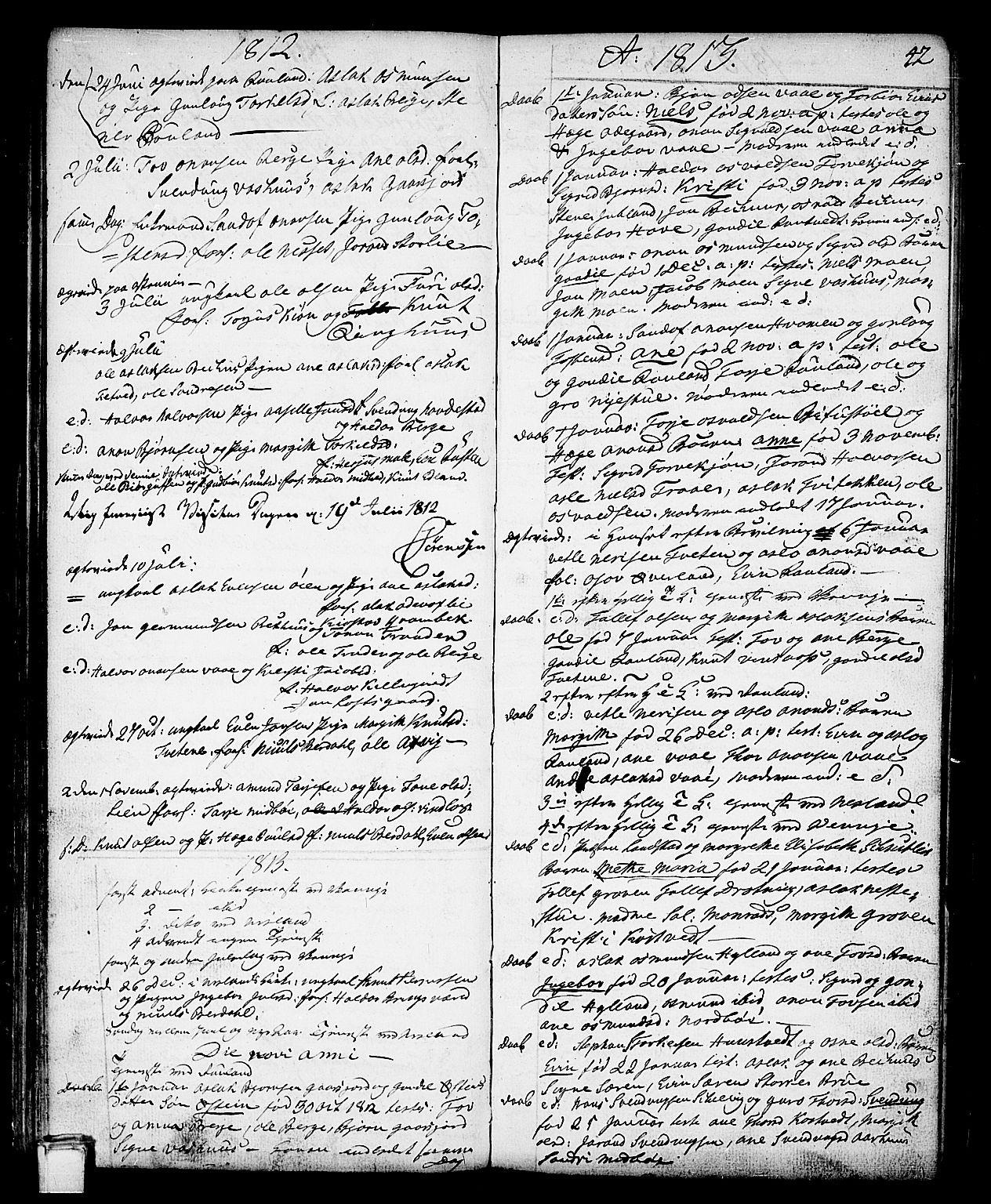 SAKO, Vinje kirkebøker, F/Fa/L0002: Ministerialbok nr. I 2, 1767-1814, s. 42