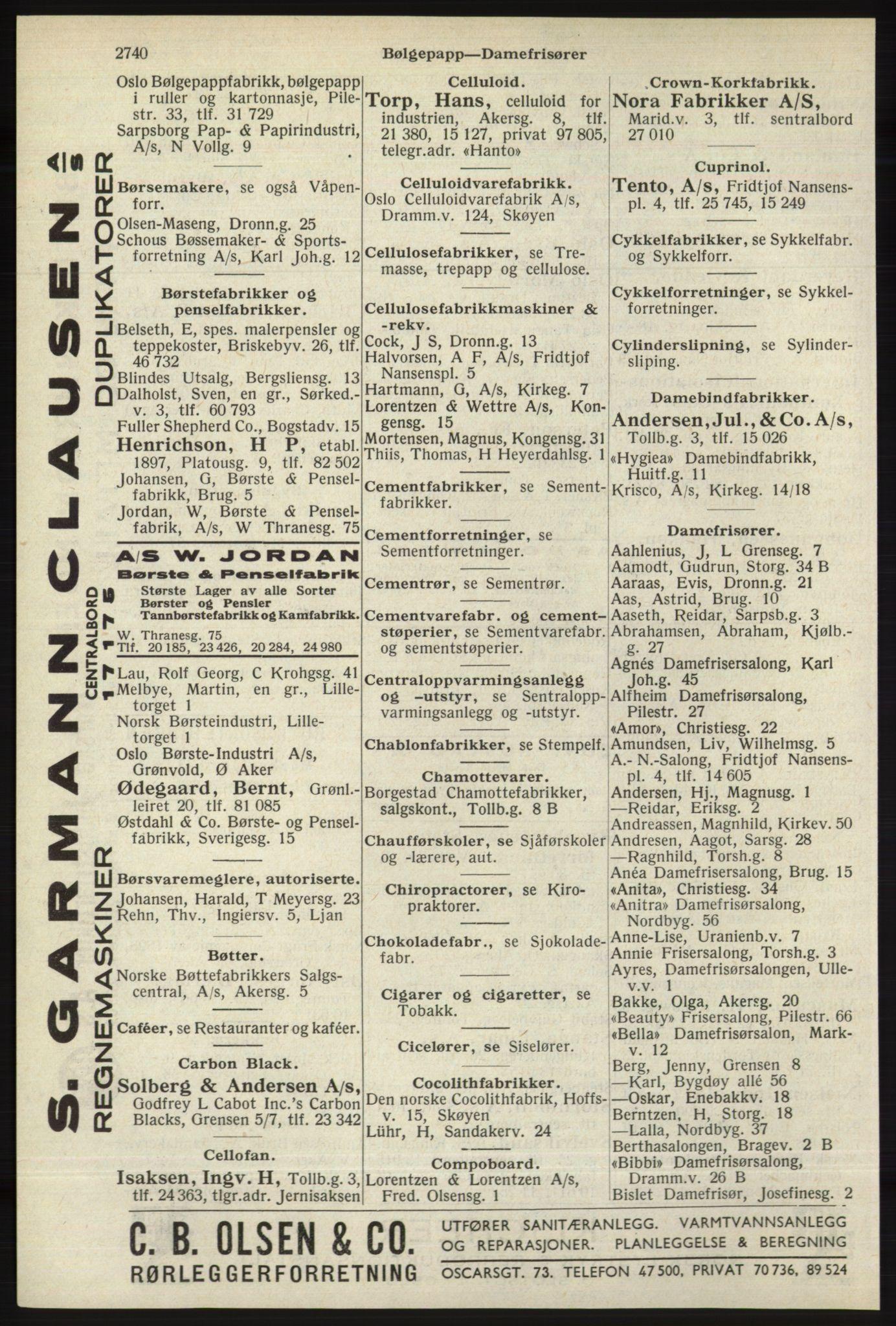 RA, Oslo adressebok (publikasjon)*, 1940, s. 2740