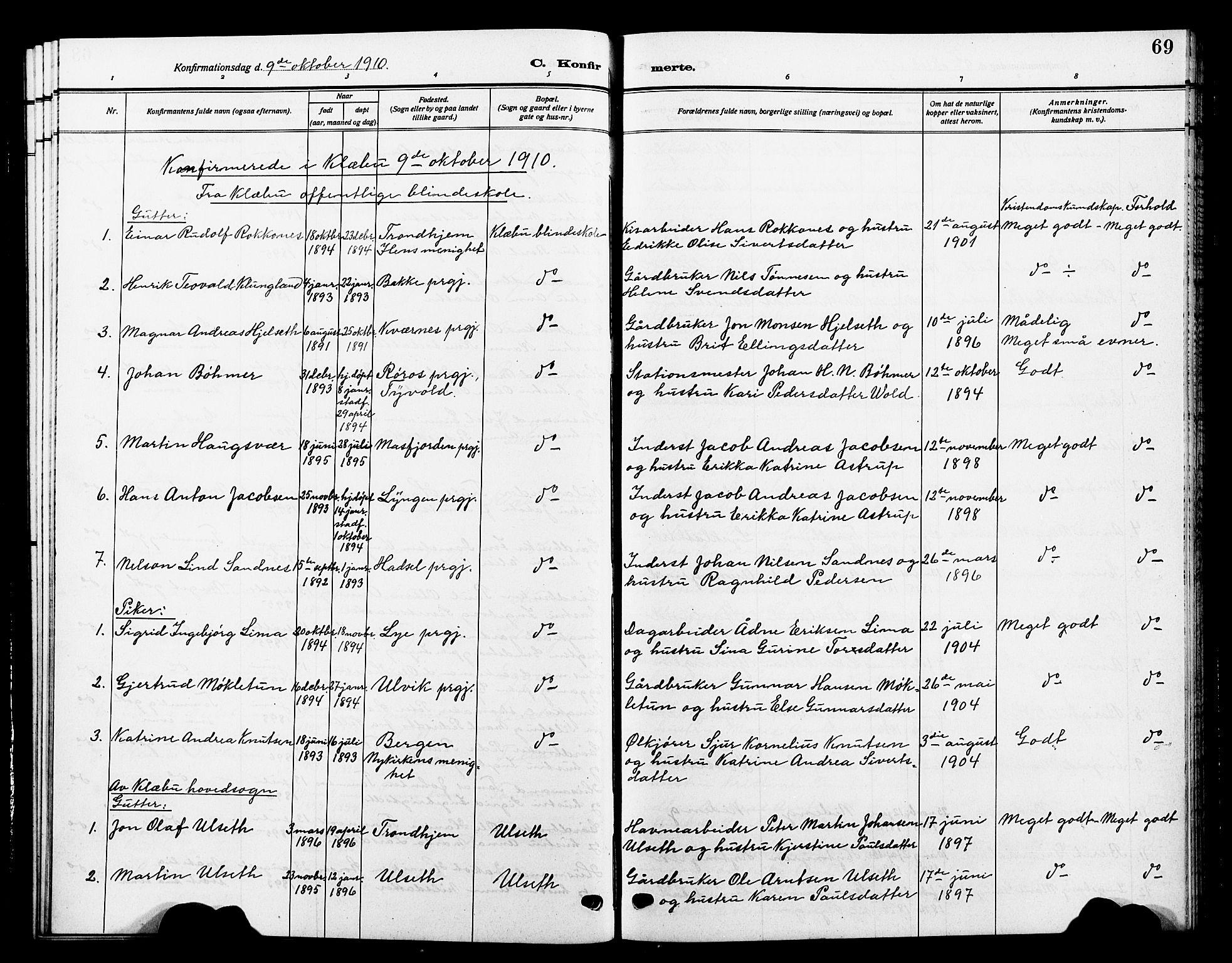 SAT, Ministerialprotokoller, klokkerbøker og fødselsregistre - Sør-Trøndelag, 618/L0453: Klokkerbok nr. 618C04, 1907-1925, s. 69