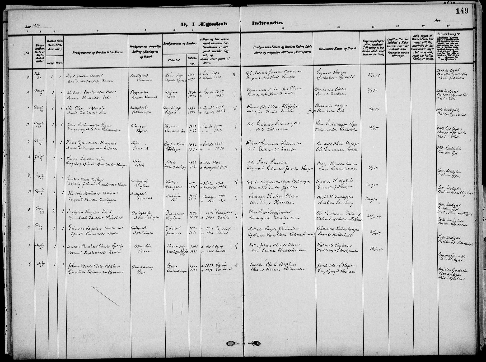 SAKO, Sauherad kirkebøker, G/Ga/L0004a: Klokkerbok nr. I 4, 1906-1934, s. 149