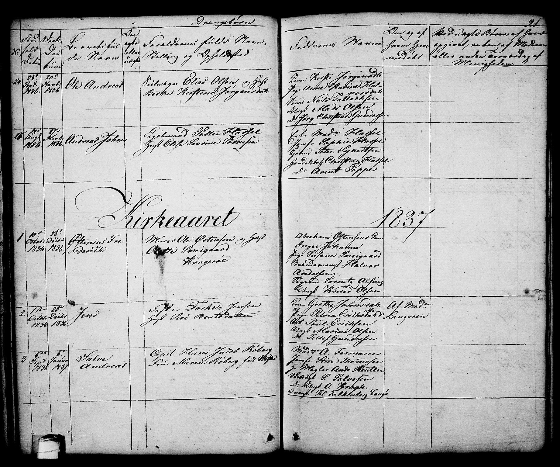 SAKO, Kragerø kirkebøker, G/Ga/L0003: Klokkerbok nr. 3, 1832-1852, s. 21