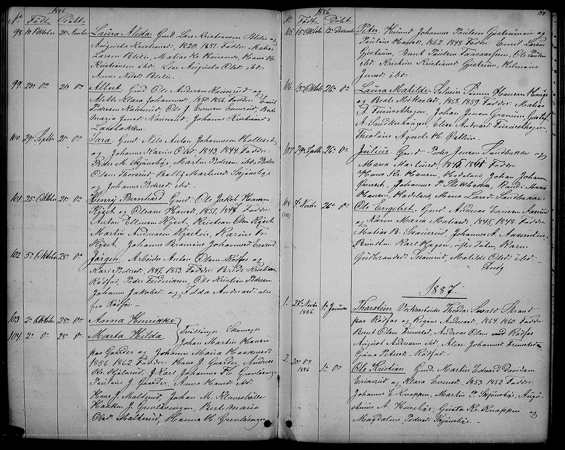 SAH, Vestre Toten prestekontor, H/Ha/Hab/L0006: Klokkerbok nr. 6, 1870-1887, s. 159
