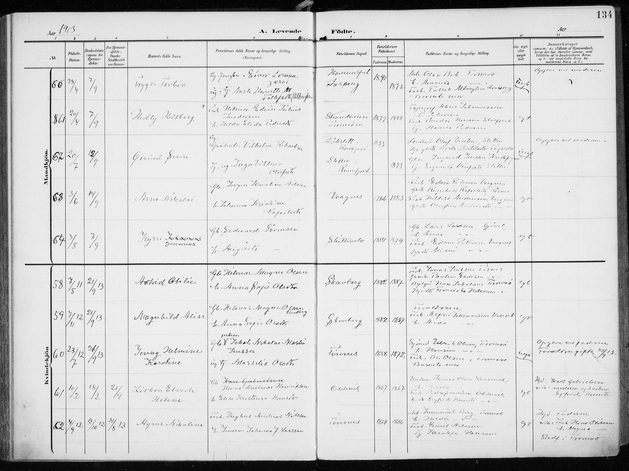 SATØ, Tromsøysund sokneprestkontor, G/Ga/L0007kirke: Ministerialbok nr. 7, 1907-1914, s. 134