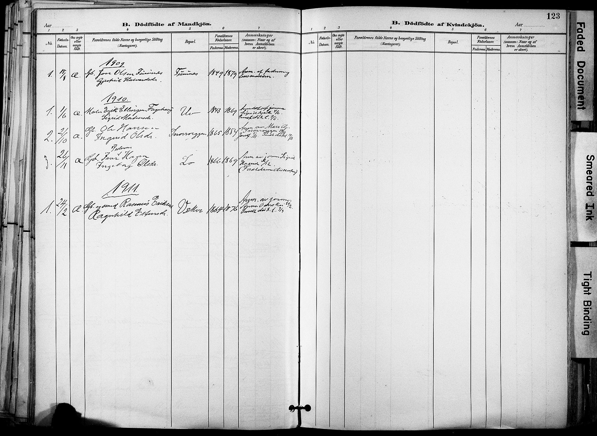 SAT, Ministerialprotokoller, klokkerbøker og fødselsregistre - Sør-Trøndelag, 678/L0902: Ministerialbok nr. 678A11, 1895-1911, s. 123