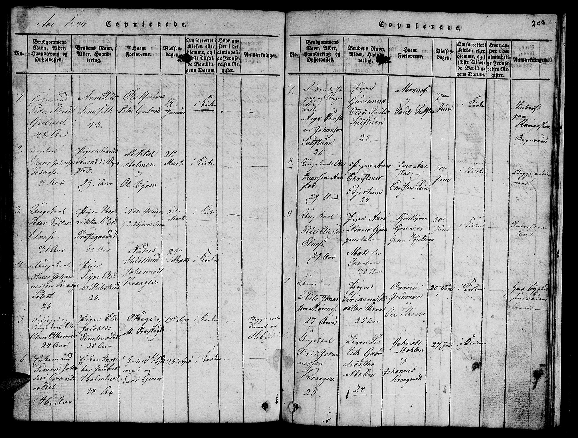 SAT, Ministerialprotokoller, klokkerbøker og fødselsregistre - Nord-Trøndelag, 723/L0251: Klokkerbok nr. 723C01 /2, 1843-1845, s. 206