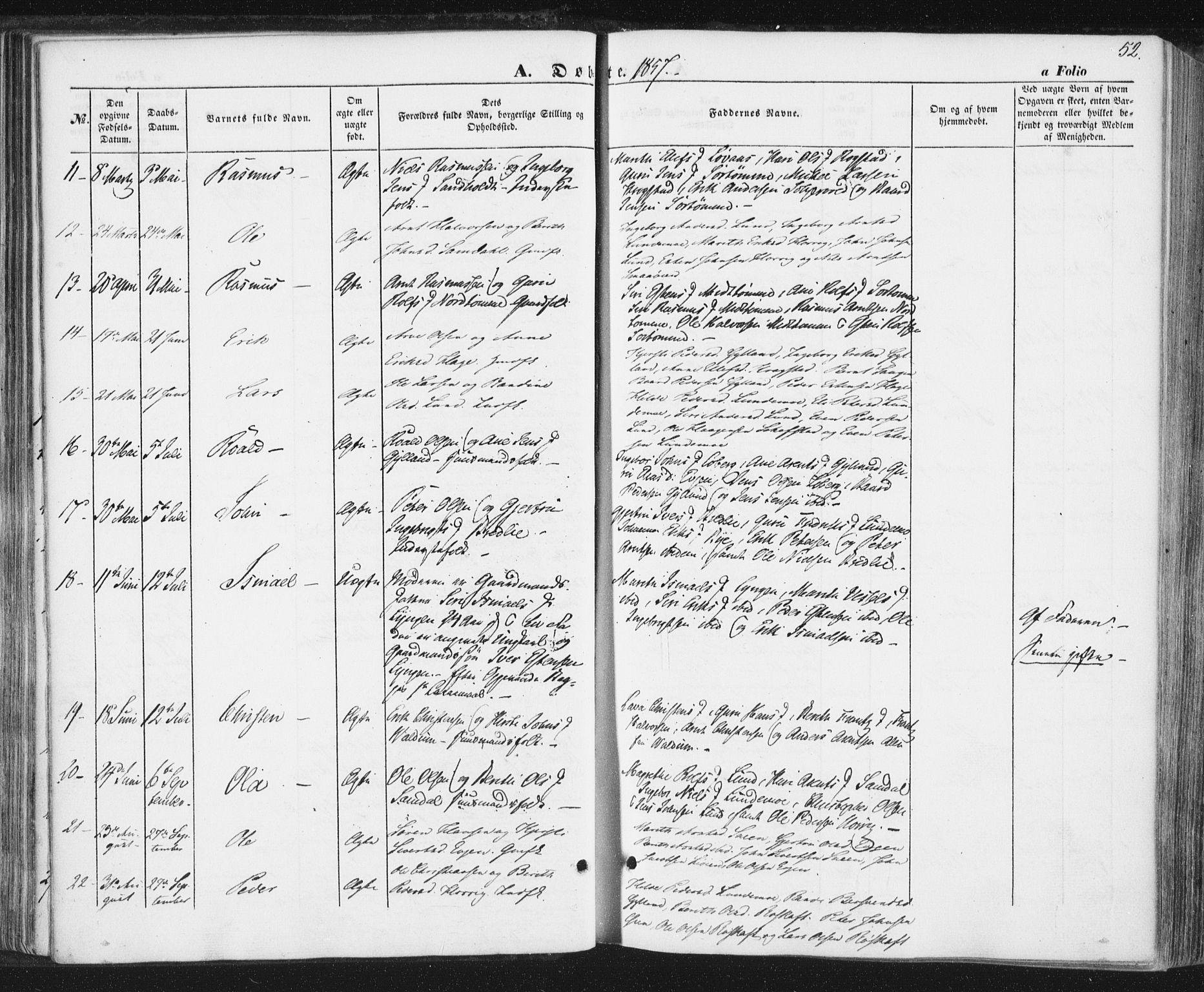 SAT, Ministerialprotokoller, klokkerbøker og fødselsregistre - Sør-Trøndelag, 692/L1103: Ministerialbok nr. 692A03, 1849-1870, s. 52