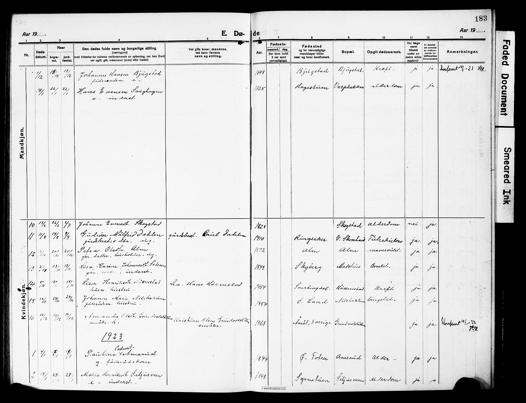 SAH, Vardal prestekontor, H/Ha/Hab/L0015: Klokkerbok nr. 15, 1914-1931, s. 183