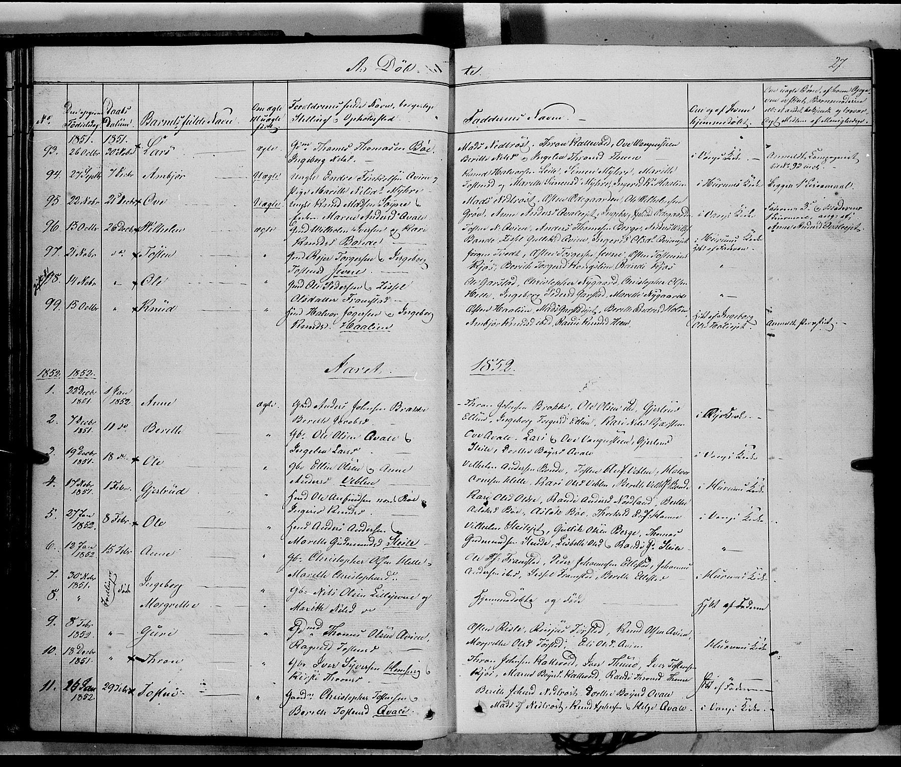 SAH, Vang prestekontor, Valdres, Ministerialbok nr. 6, 1846-1864, s. 27