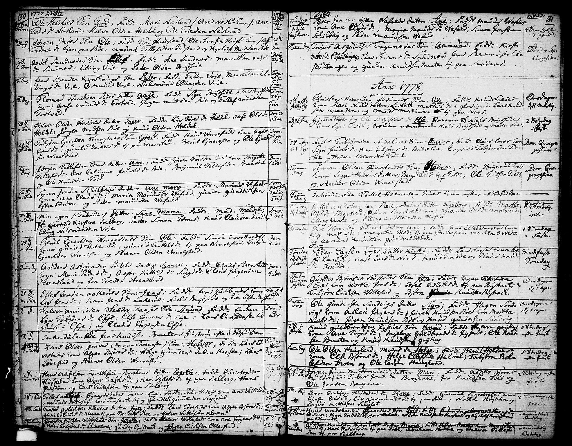SAKO, Drangedal kirkebøker, F/Fa/L0003: Ministerialbok nr. 3, 1768-1814, s. 30-31