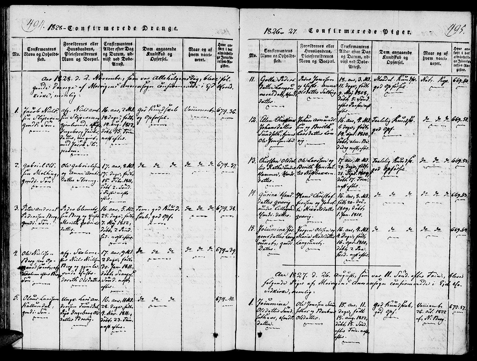 SAT, Ministerialprotokoller, klokkerbøker og fødselsregistre - Nord-Trøndelag, 733/L0322: Ministerialbok nr. 733A01, 1817-1842, s. 494-495