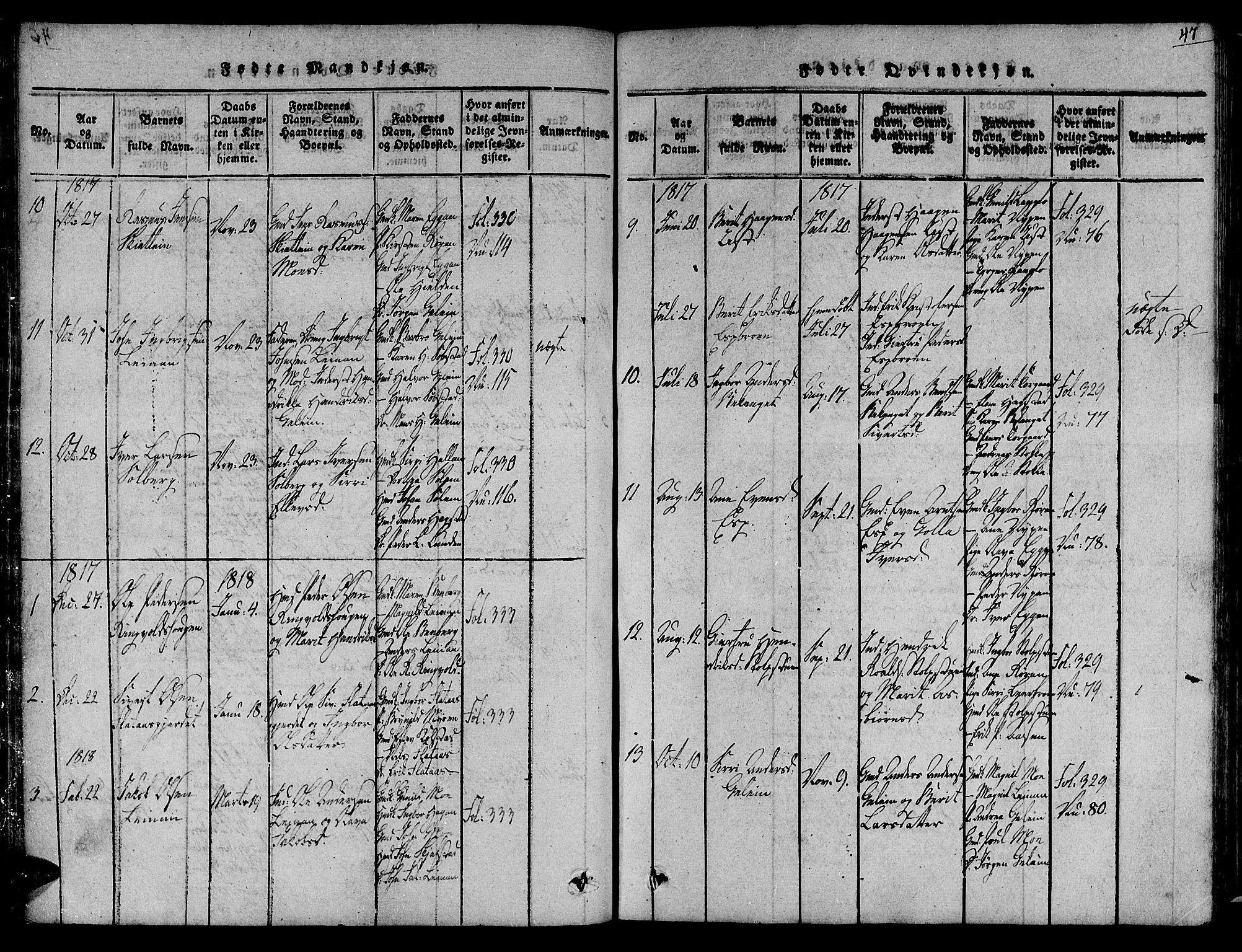 SAT, Ministerialprotokoller, klokkerbøker og fødselsregistre - Sør-Trøndelag, 691/L1067: Ministerialbok nr. 691A03 /3, 1816-1826, s. 47