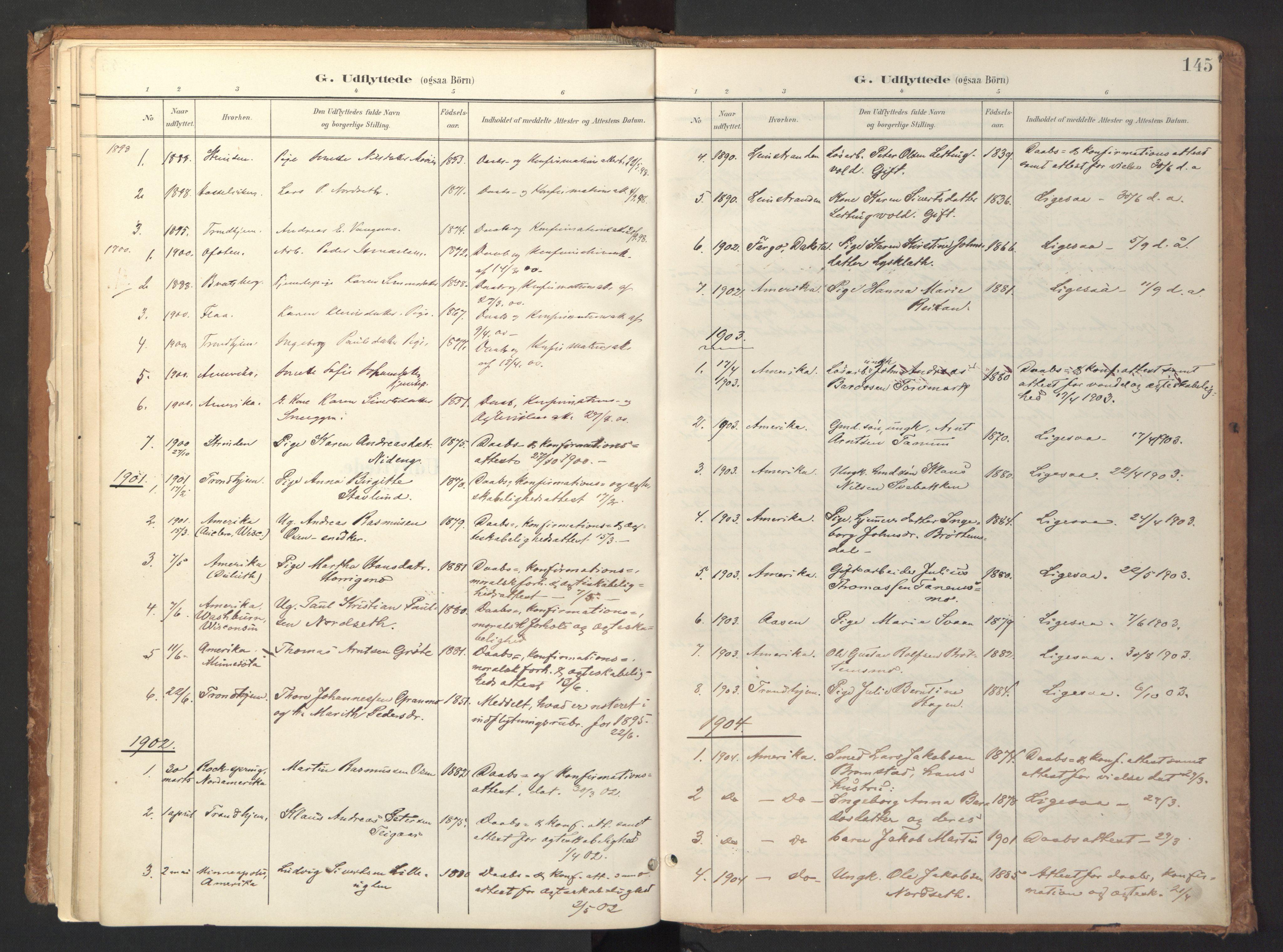 SAT, Ministerialprotokoller, klokkerbøker og fødselsregistre - Sør-Trøndelag, 618/L0448: Ministerialbok nr. 618A11, 1898-1916, s. 145