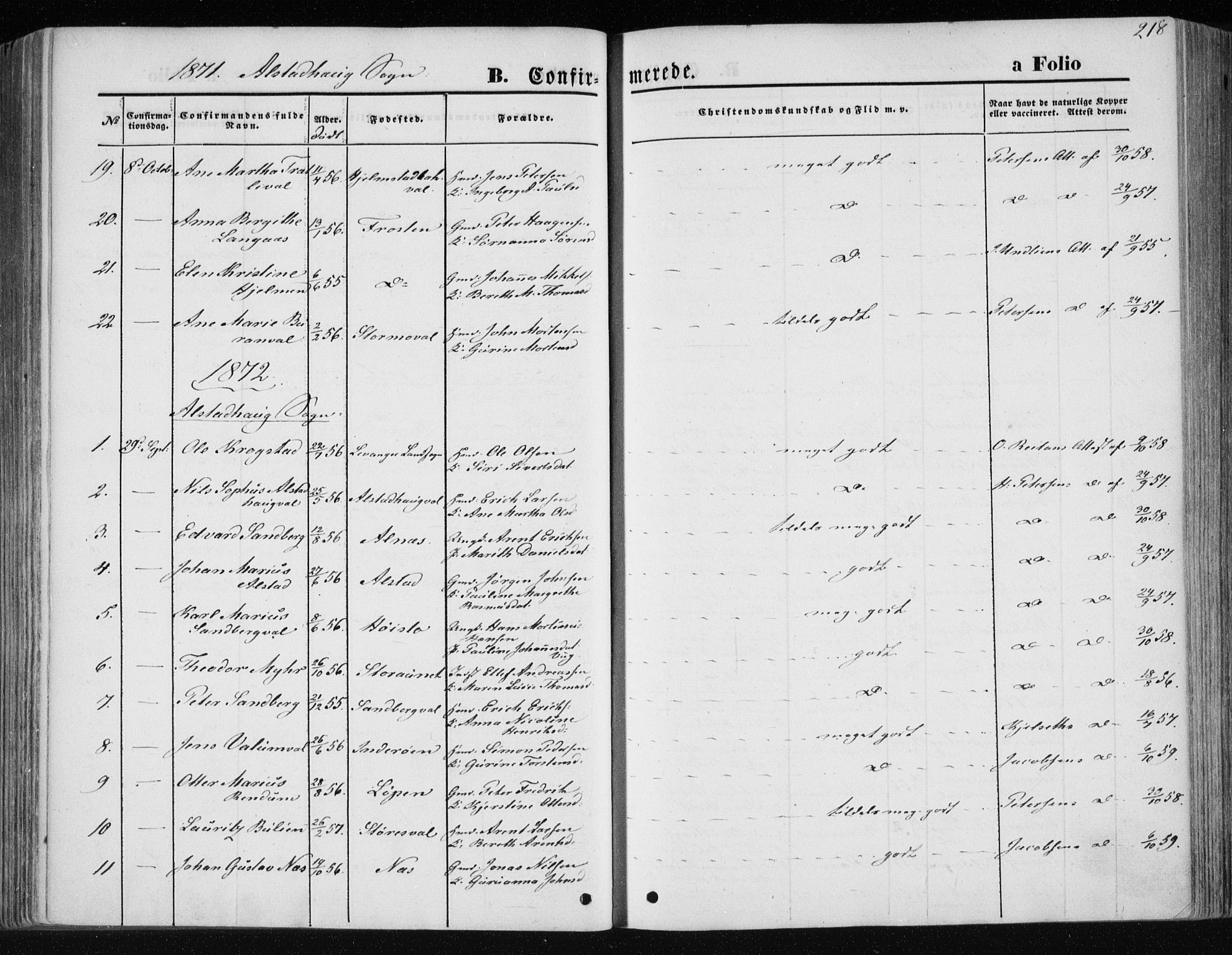 SAT, Ministerialprotokoller, klokkerbøker og fødselsregistre - Nord-Trøndelag, 717/L0157: Ministerialbok nr. 717A08 /1, 1863-1877, s. 218