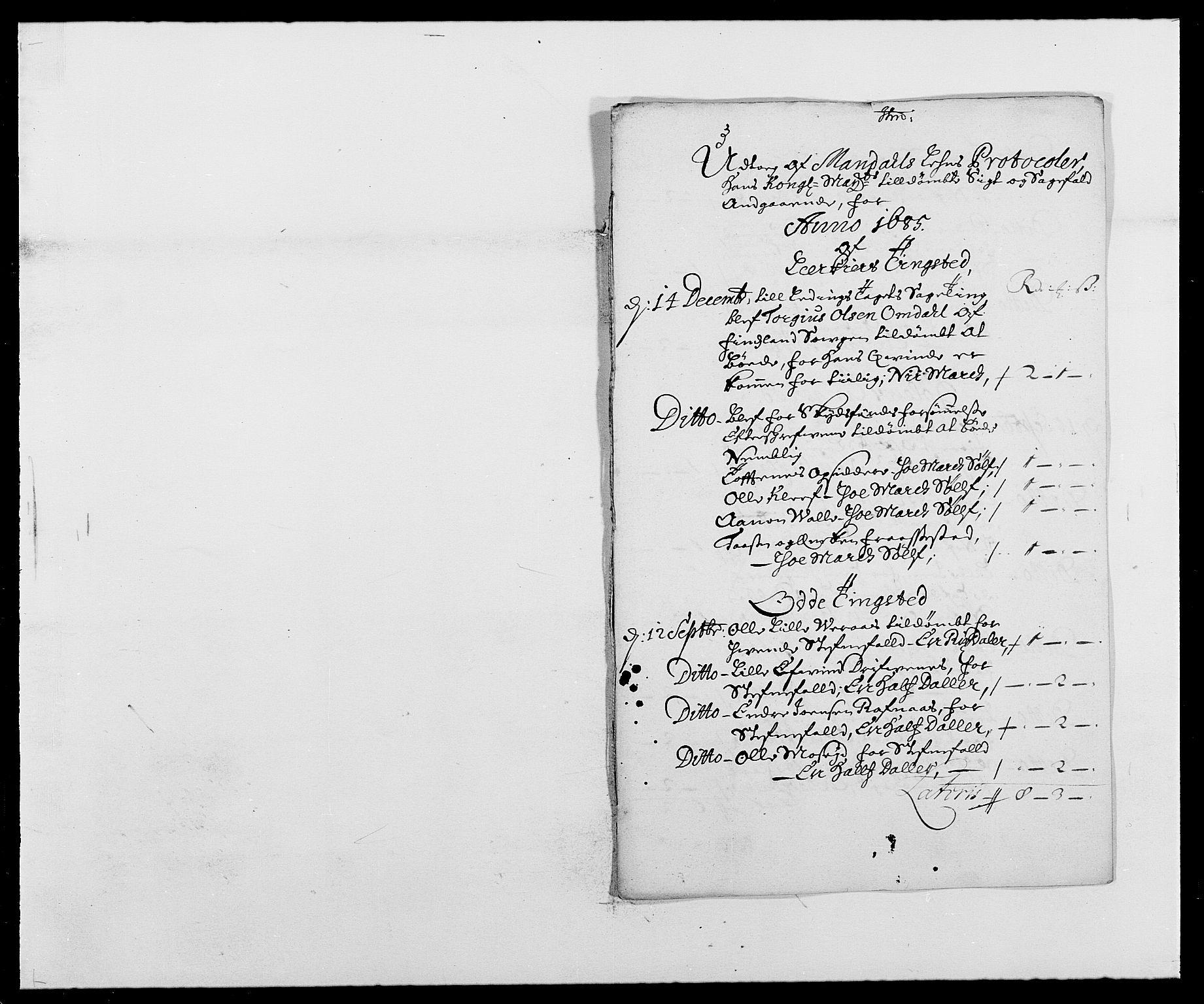 RA, Rentekammeret inntil 1814, Reviderte regnskaper, Fogderegnskap, R42/L2542: Mandal fogderi, 1685-1687, s. 40